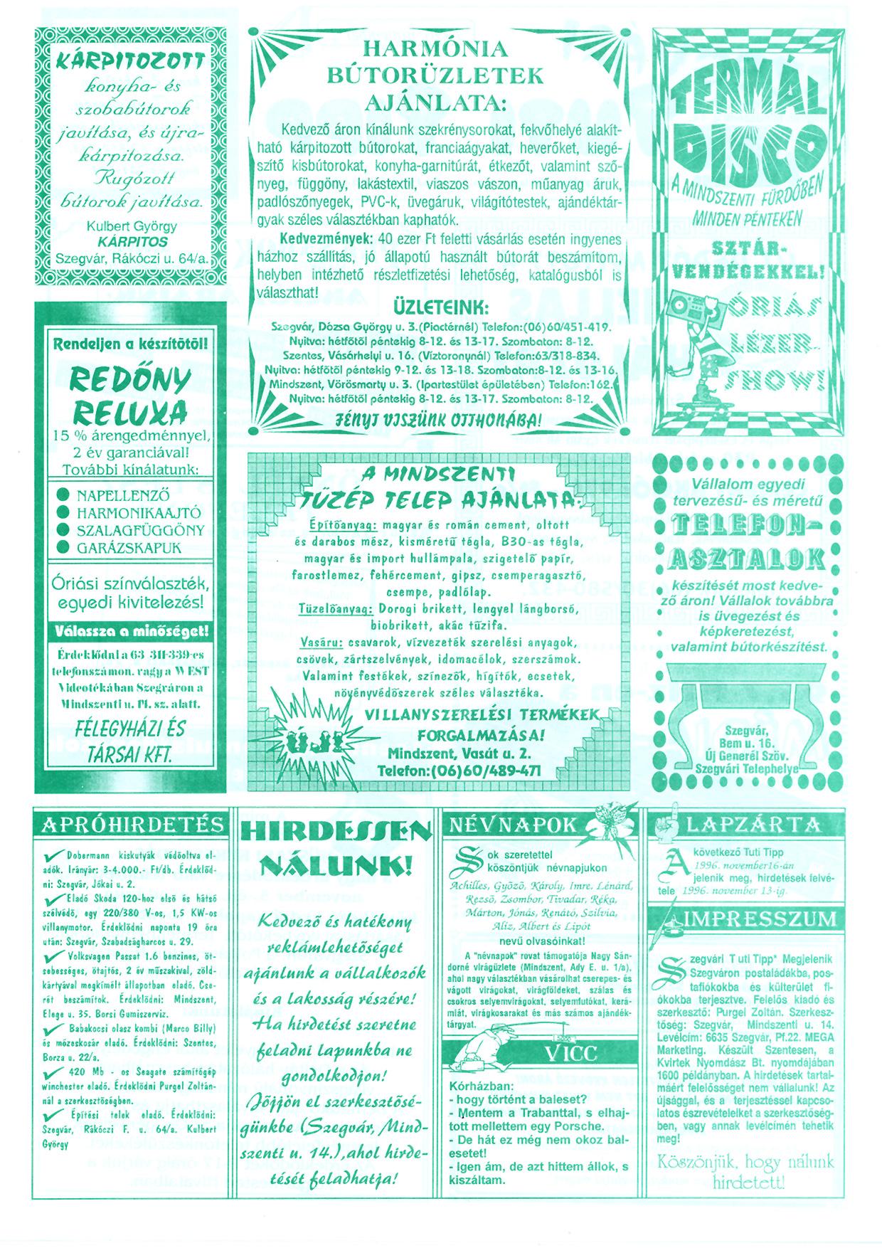 064 Szegvári Tuti Tipp reklámújság - 19961102-033. lapszám - 2.oldal - II. évfolyam.jpg