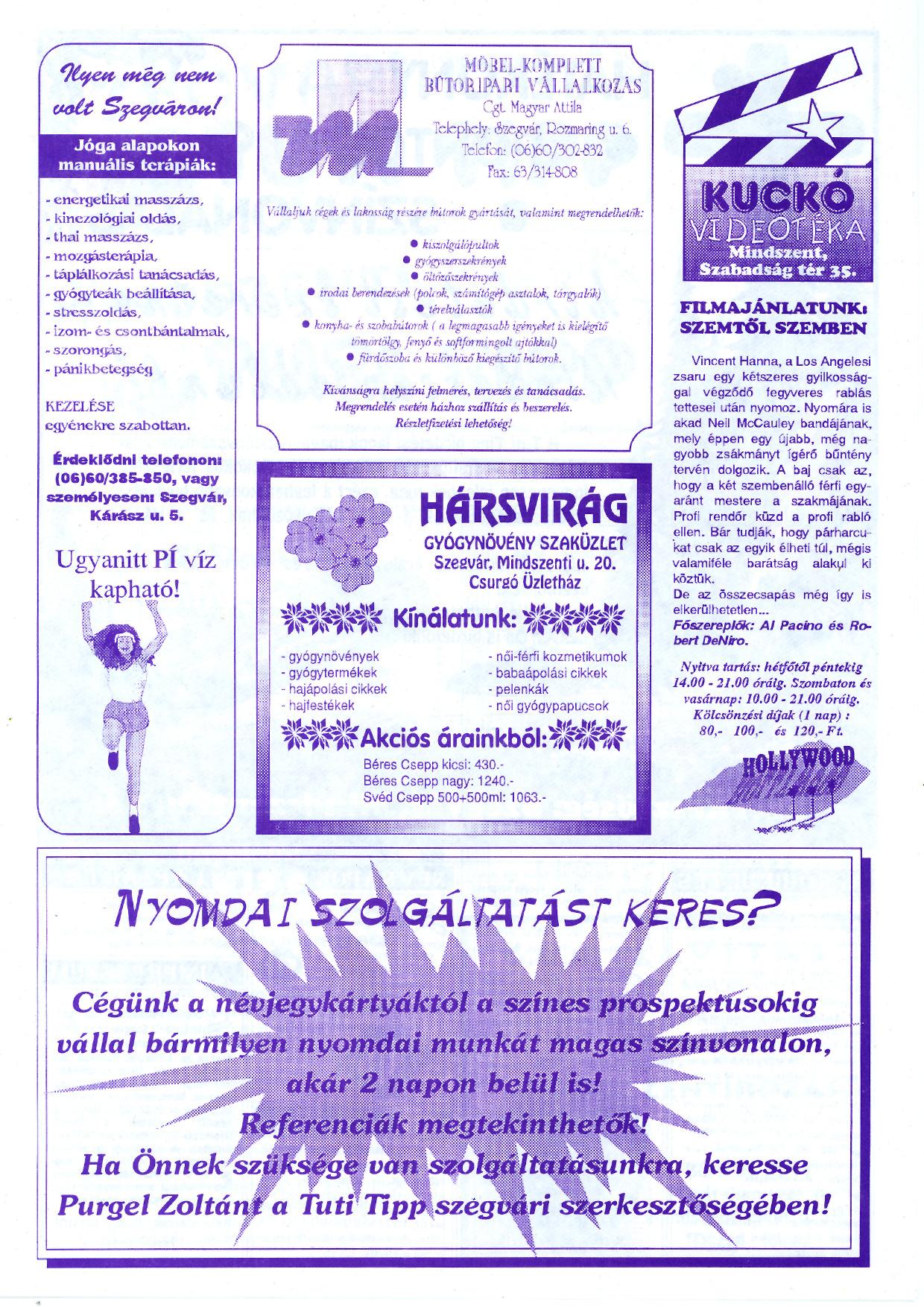 061 Szegvári és Mindszenti Tuti Tipp reklámújság - 19961019-032-009. lapszám - 3.oldal - II. évfolyam.jpg