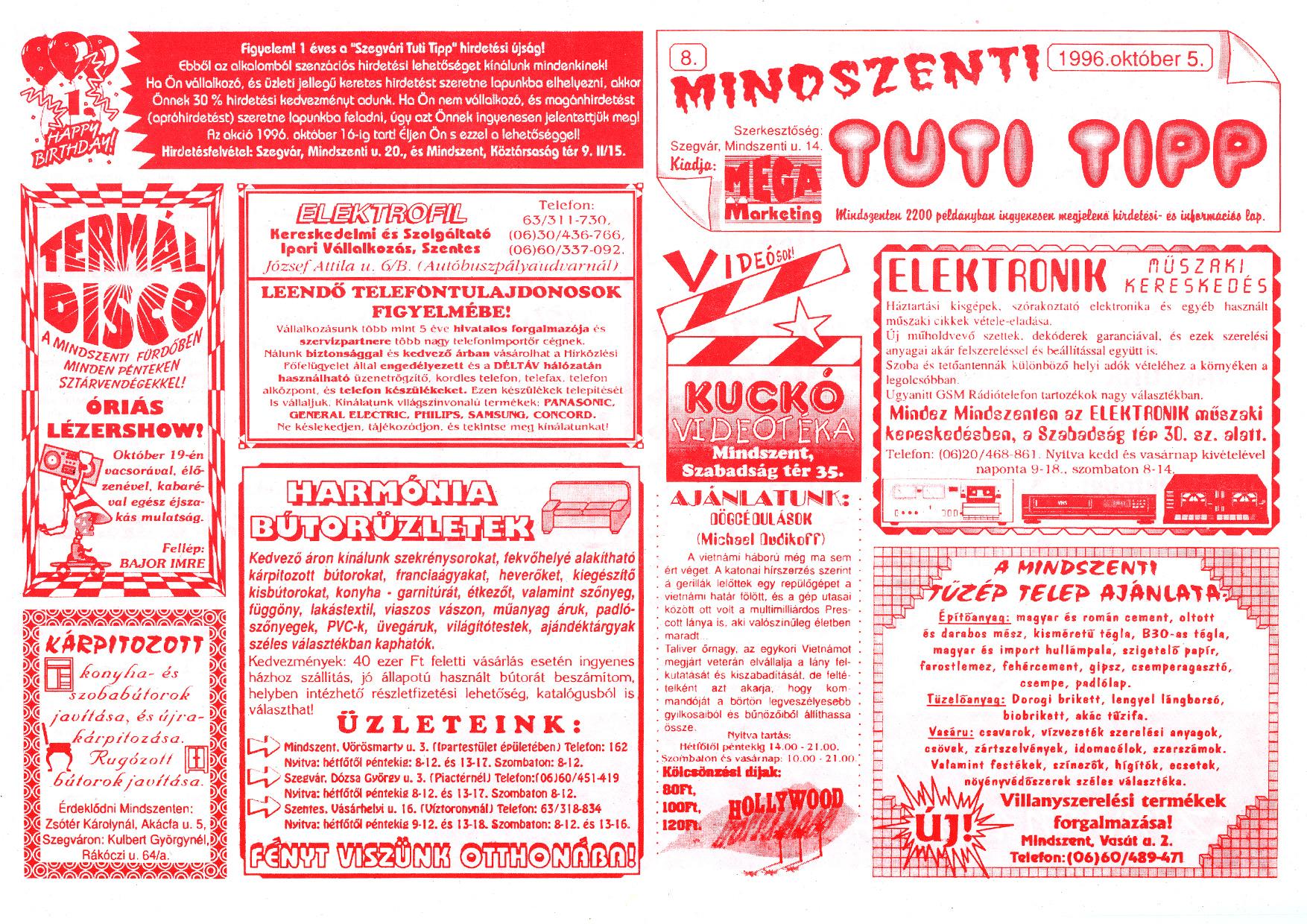057 Mindszenti Tuti Tipp reklámújság - 19961005-008. lapszám - 1.oldal - II. évfolyam.jpg