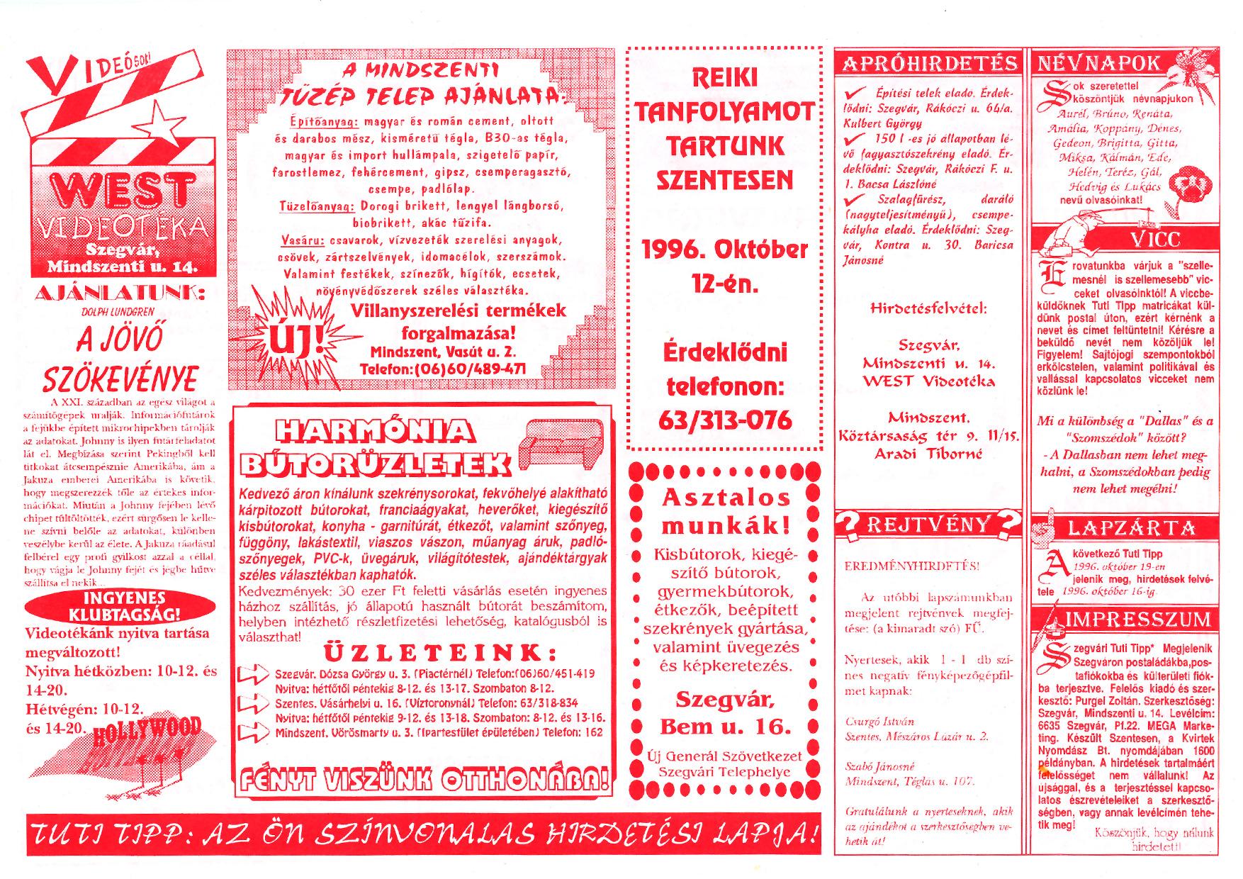 056 Szegvári Tuti Tipp reklámújság - 19961005-031. lapszám - 2.oldal - II. évfolyam.jpg