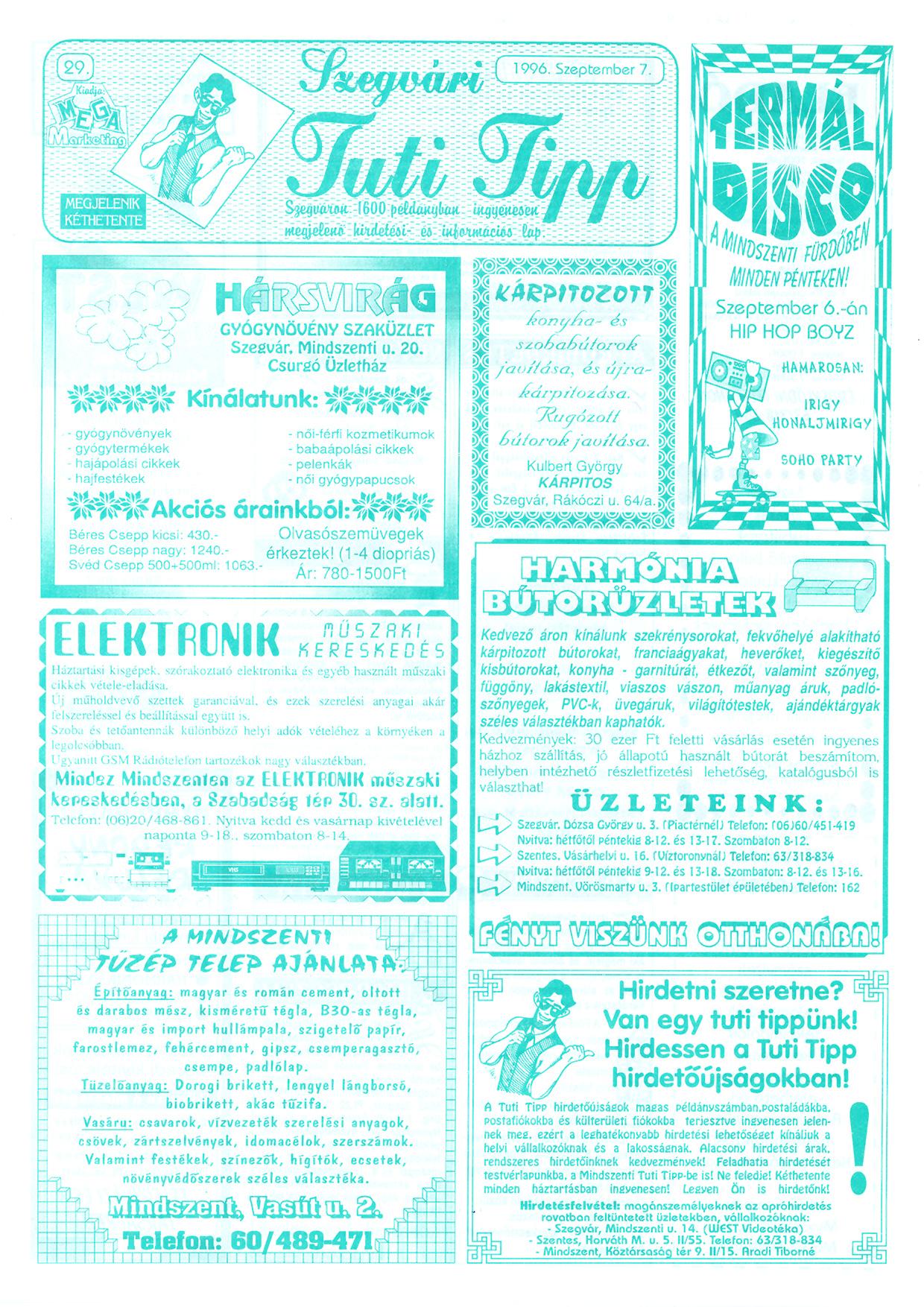 047 Szegvári Tuti Tipp reklámújság - 19960907-029. lapszám - 1.oldal - II. évfolyam.jpg