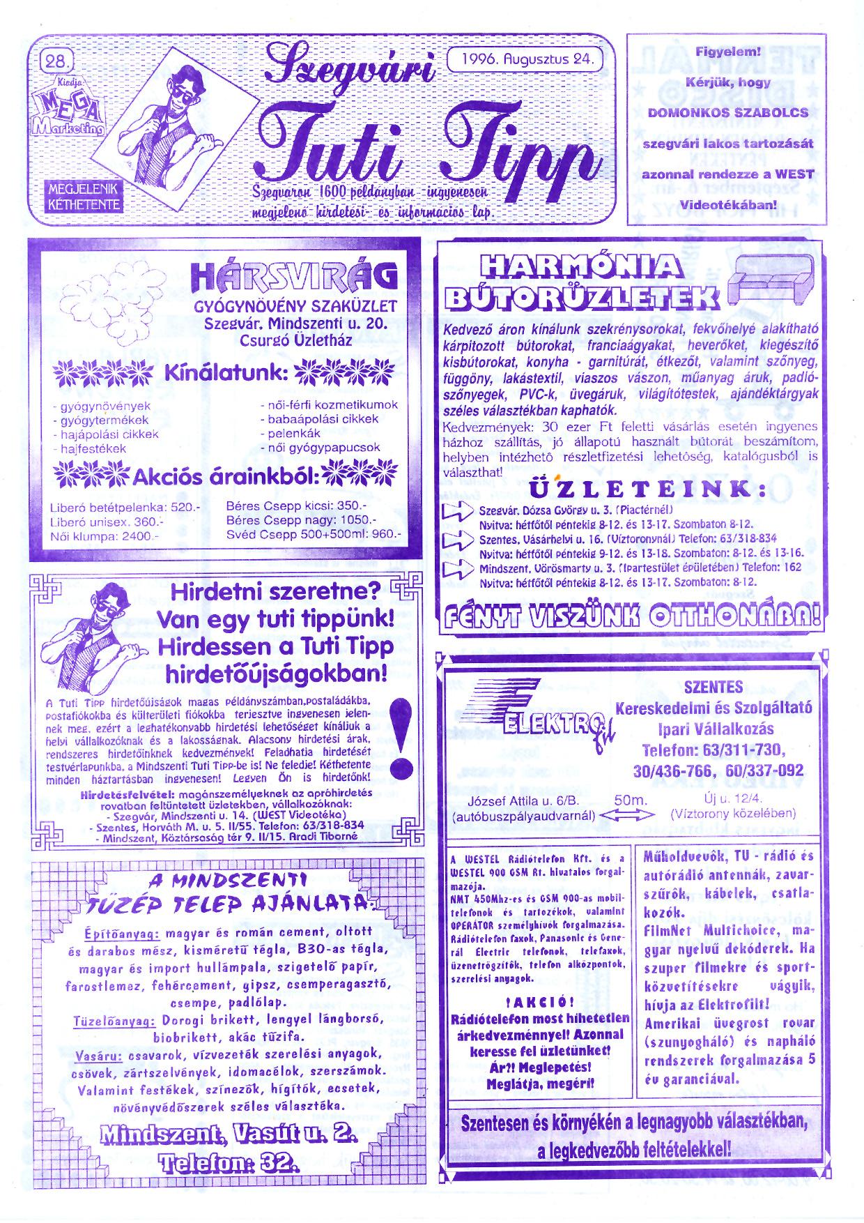 043 Szegvári Tuti Tipp reklámújság - 19960824-028. lapszám - 1.oldal - II. évfolyam.jpg
