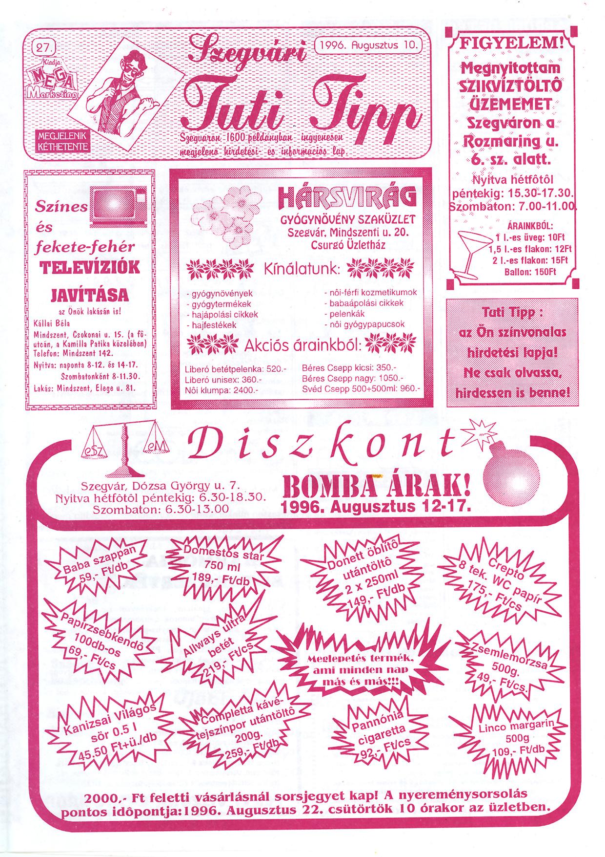 037 Szegvári Tuti Tipp reklámújság - 19960810-027. lapszám - 1.oldal - II. évfolyam.jpg