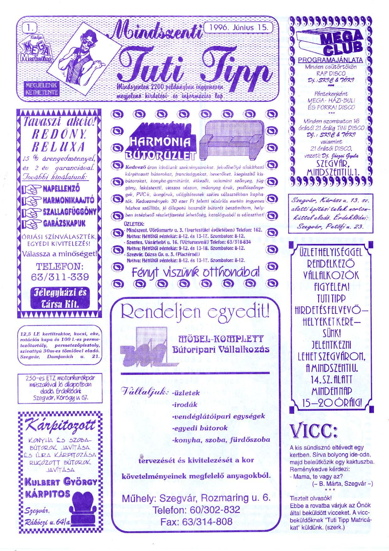 027 Mindszenti Tuti Tipp reklámújság - 19960615-001. lapszám - 1.oldal - II. évfolyam.jpg