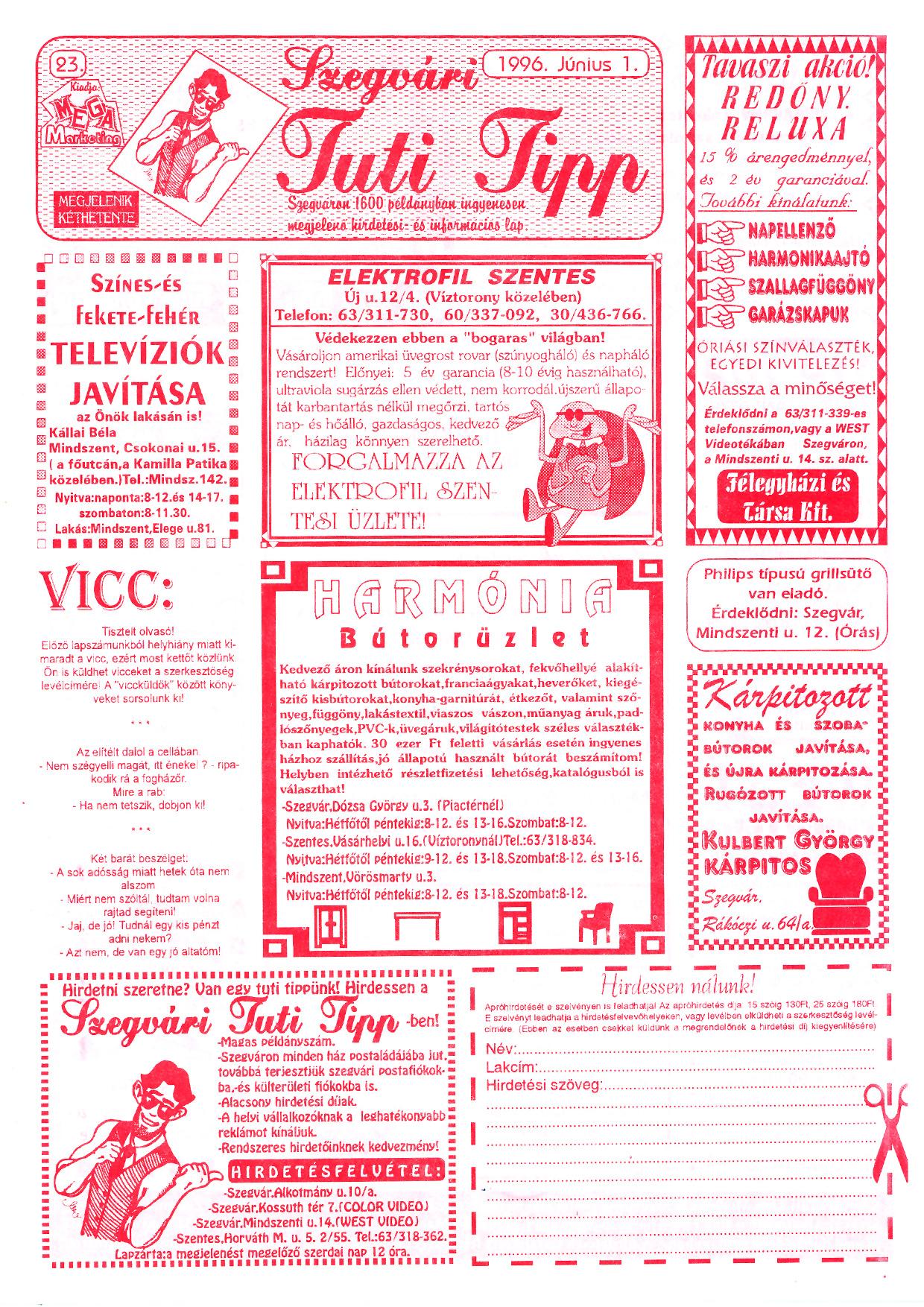 023 Szegvári Tuti Tipp reklámújság - 19960601-023. lapszám - 1.oldal - II. évfolyam.jpg