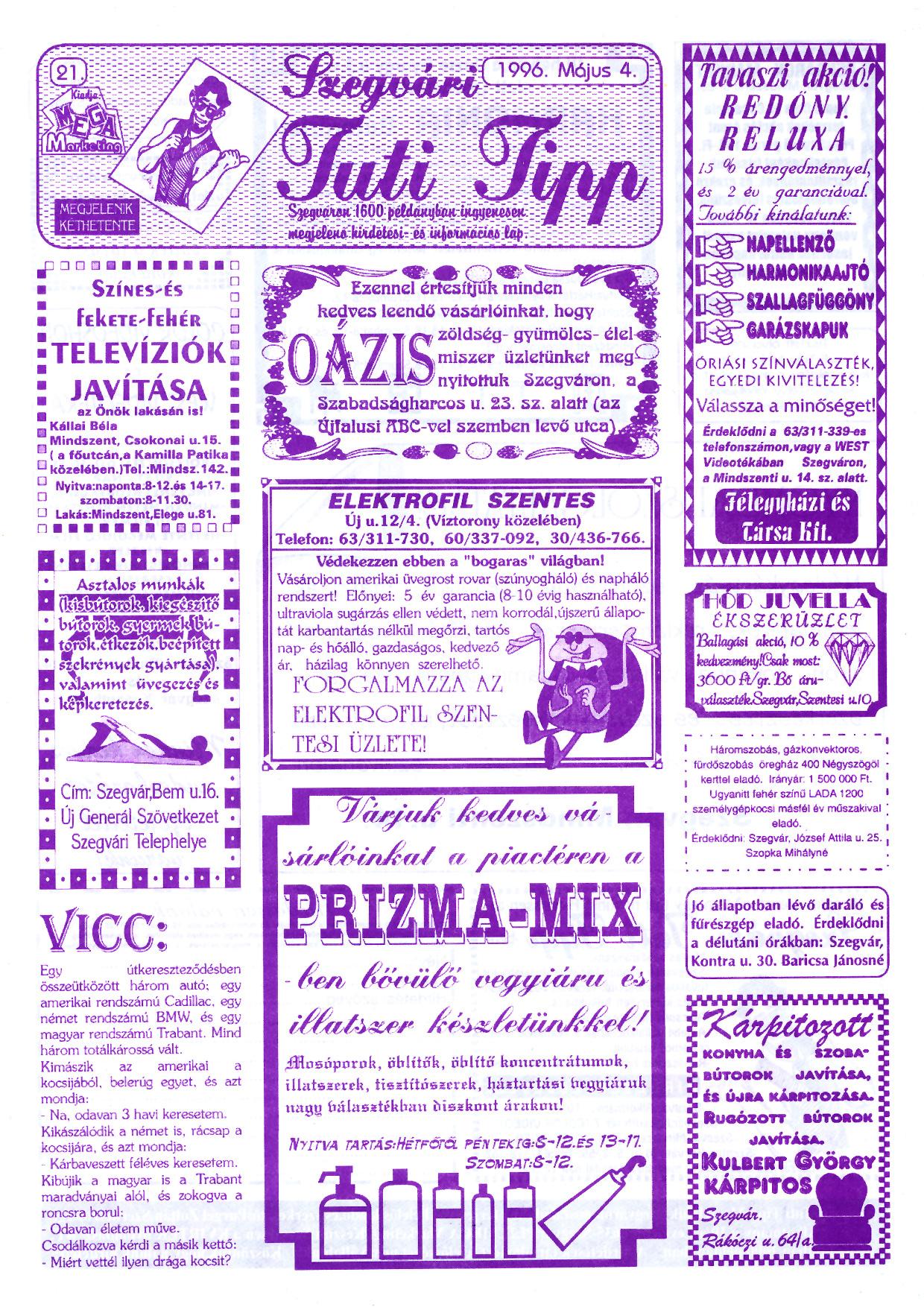 019 Szegvári Tuti Tipp reklámújság - 19960504-021. lapszám - 1.oldal - II. évfolyam.jpg