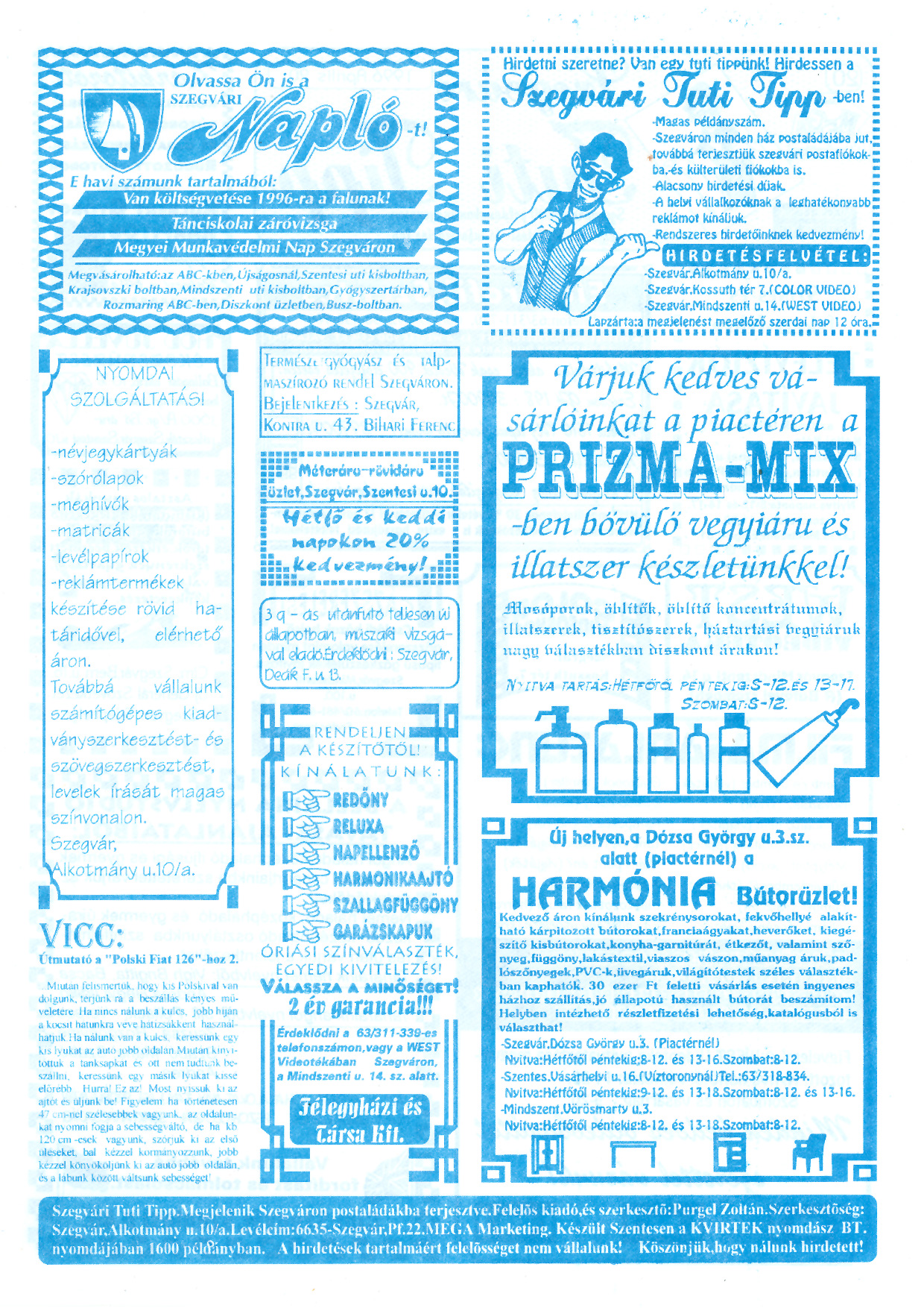 018 Szegvári Tuti Tipp reklámújság - 19960420-020. lapszám - 2.oldal - II. évfolyam.jpg