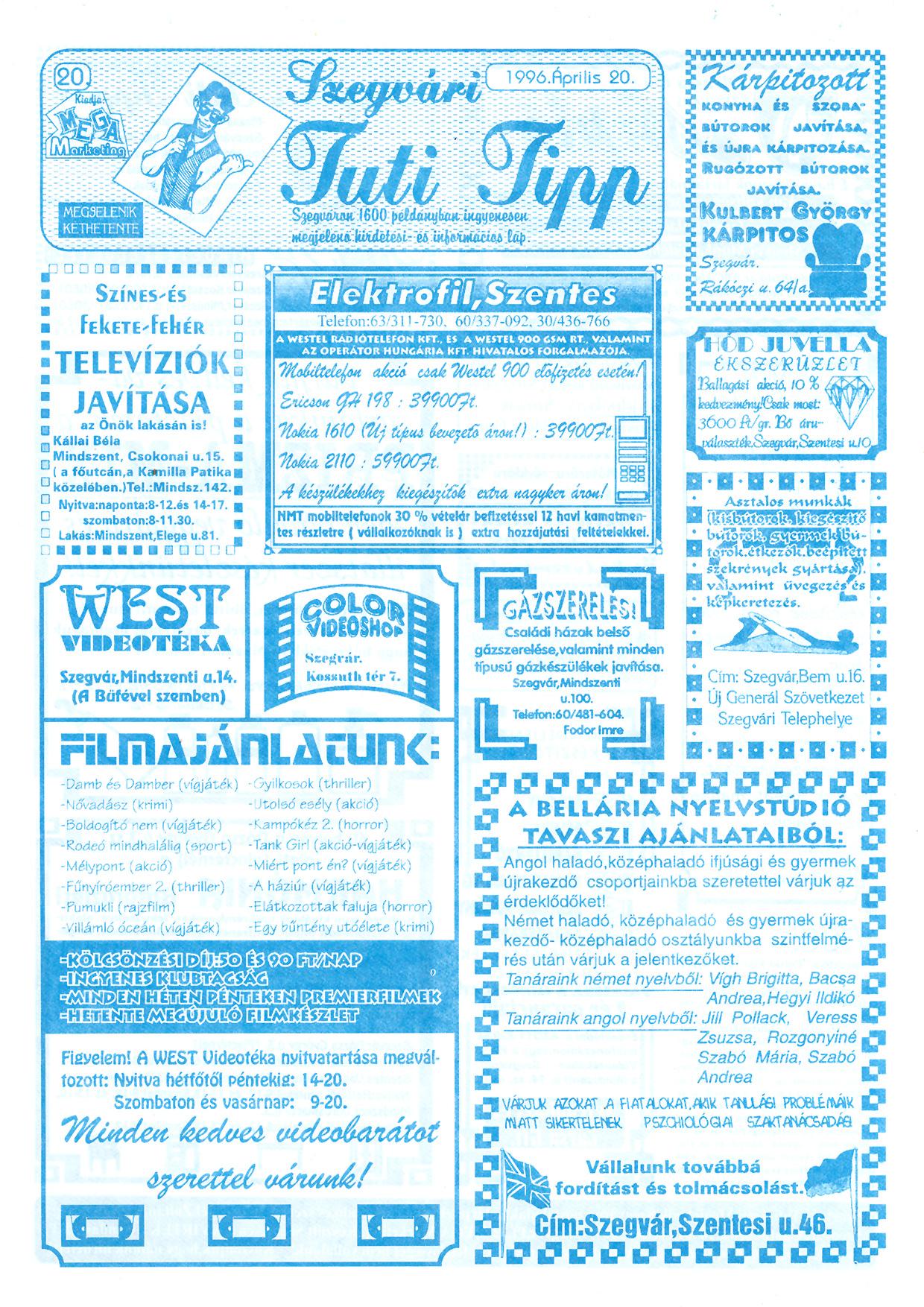 017 Szegvári Tuti Tipp reklámújság - 19960420-020. lapszám - 1.oldal - II. évfolyam.jpg