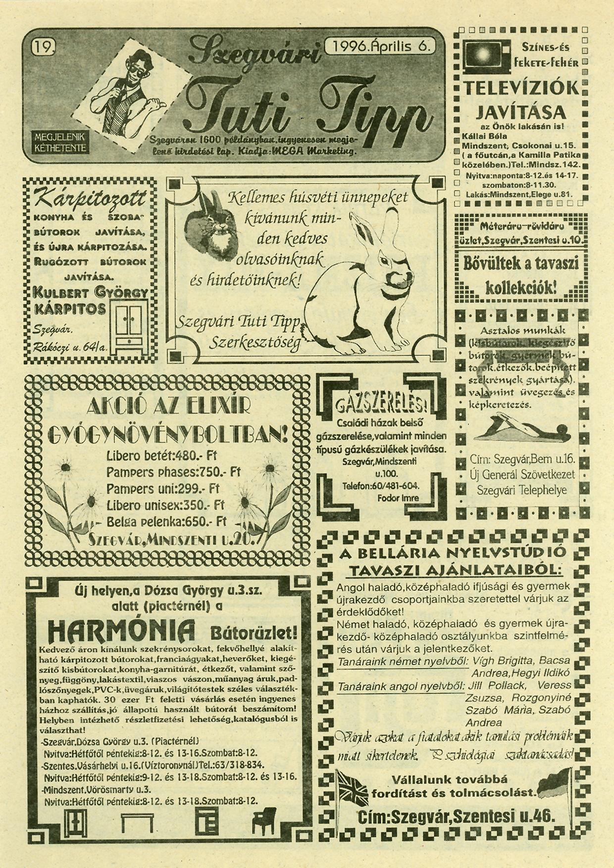 015 Szegvári Tuti Tipp reklámújság - 19960406-019. lapszám - 1.oldal - II. évfolyam.jpg