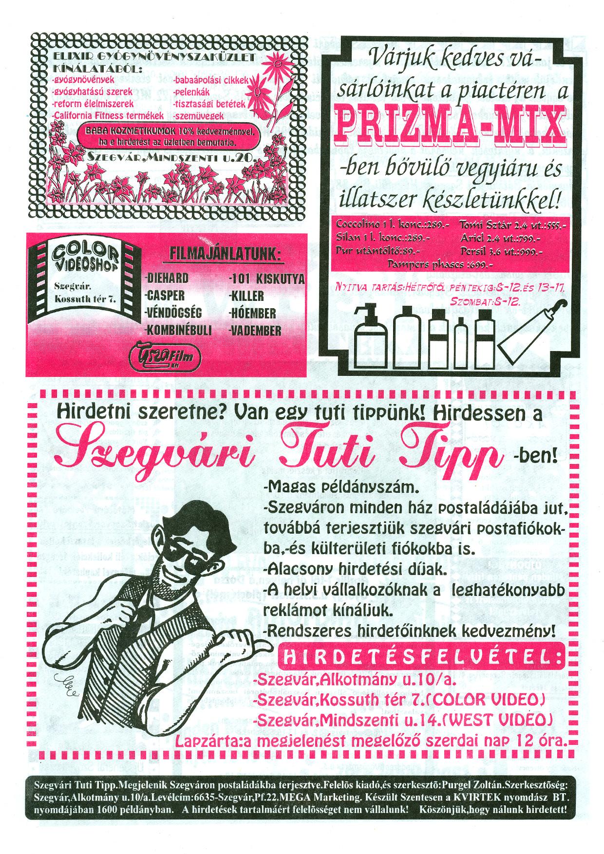 014 Szegvári Tuti Tipp reklámújság - 19960323-018. lapszám - 4.oldal - II. évfolyam.jpg