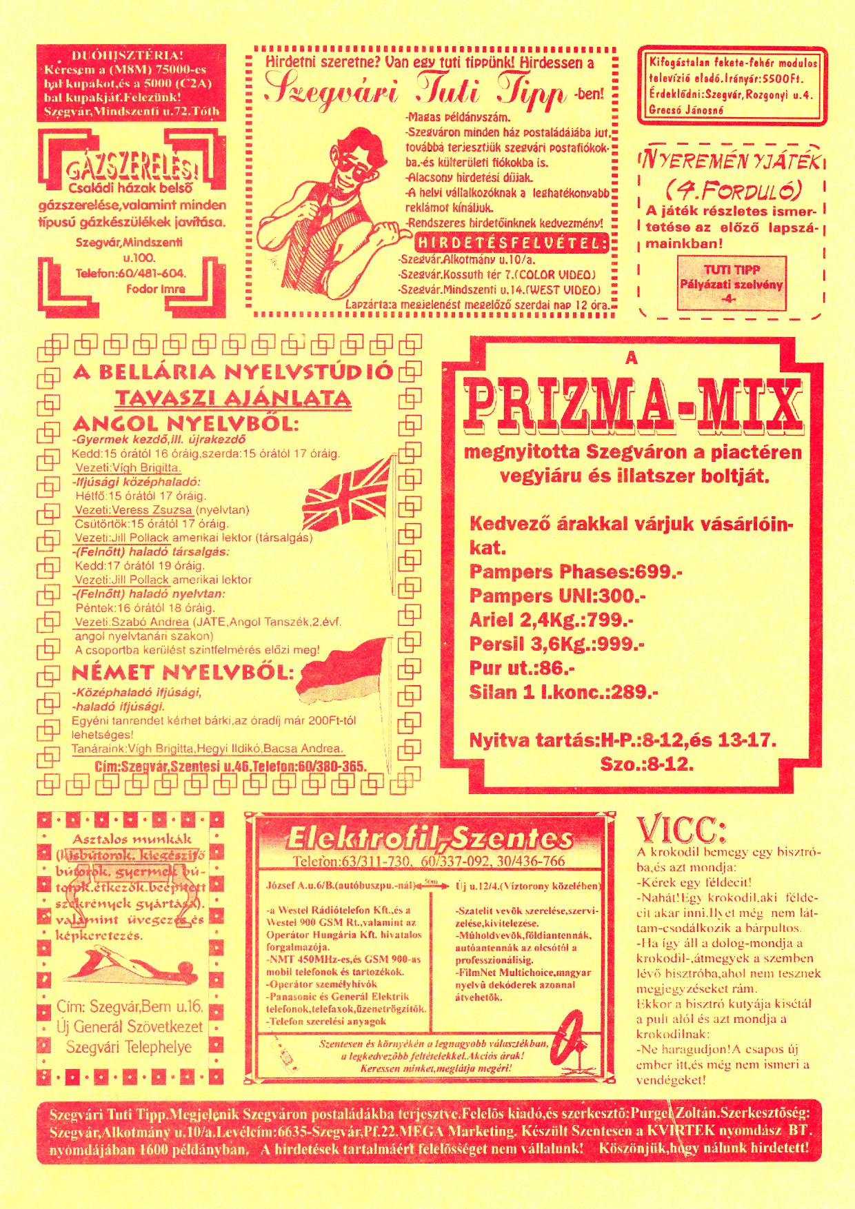 010 Szegvári Tuti Tipp reklámújság - 19960309-017. lapszám - 2.oldal - II. évfolyam.jpg