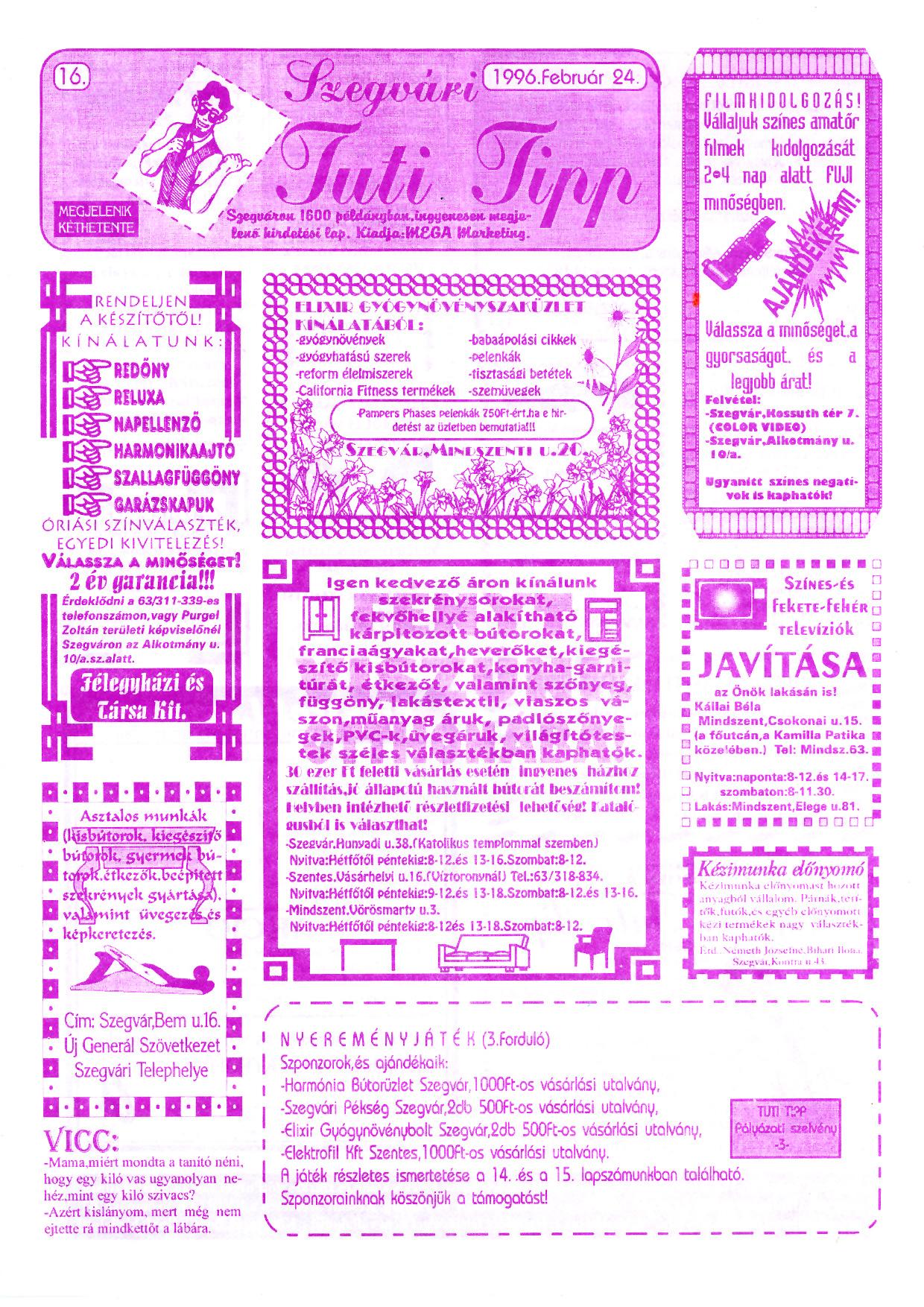 007 Szegvári Tuti Tipp reklámújság - 19960224-016. lapszám - 1.oldal - II. évfolyam.jpg