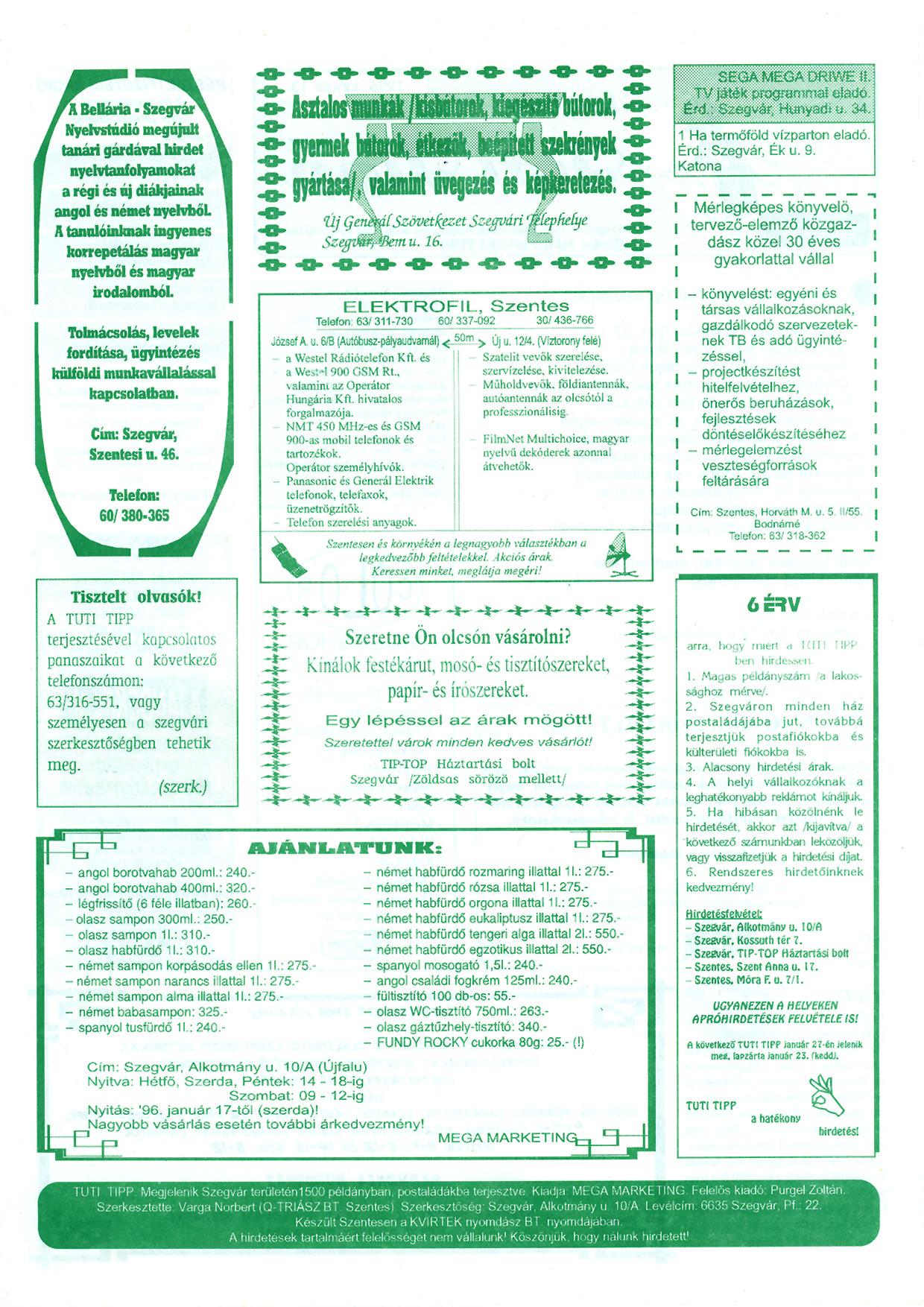 002 Szegvári Tuti Tipp reklámújság - 19960113-013. lapszám - 2.oldal - II. évfolyam.jpg