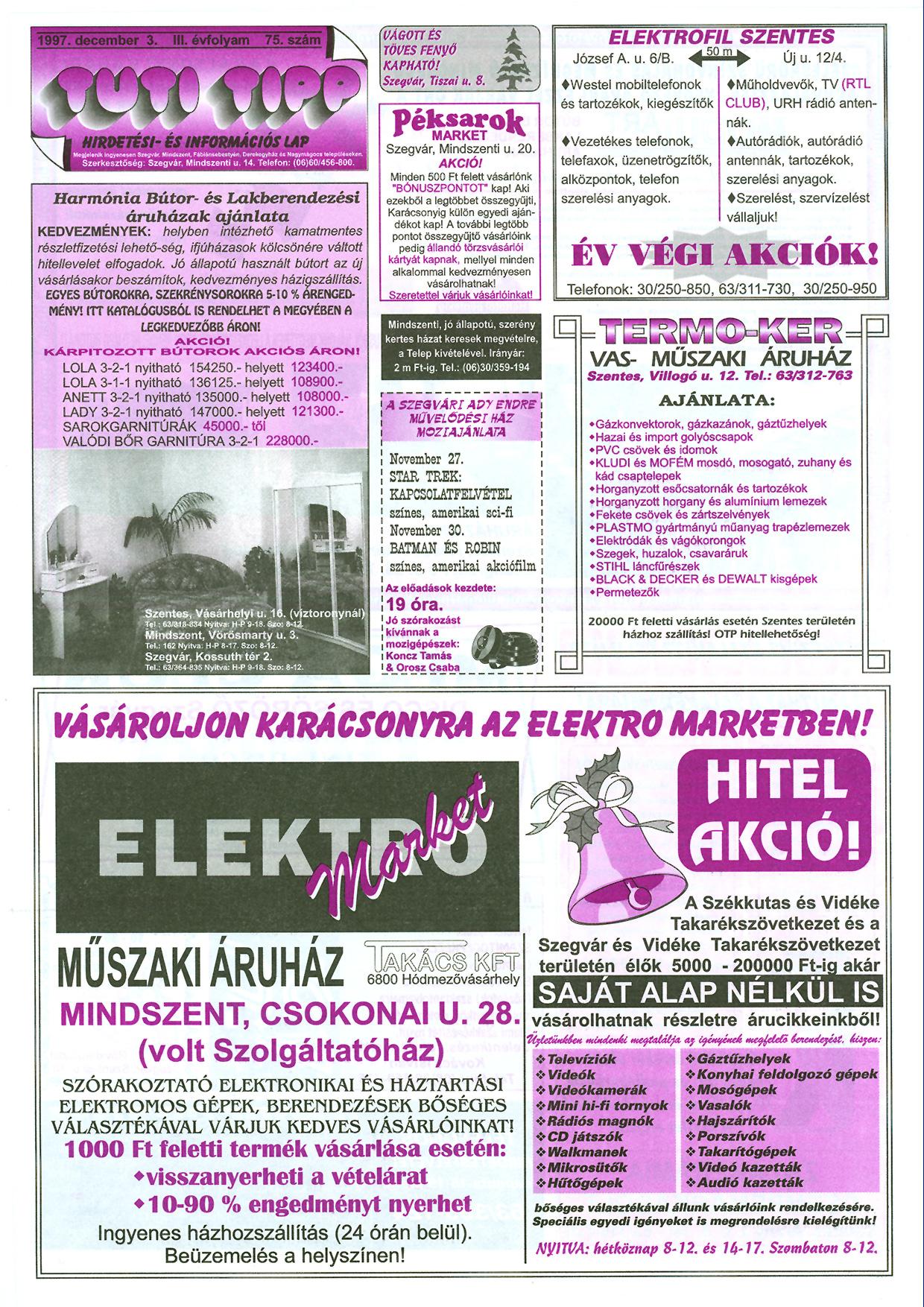 047 Tuti Tipp reklámújság - 19971203-075. lapszám - 1.oldal - III. évfolyam.jpg