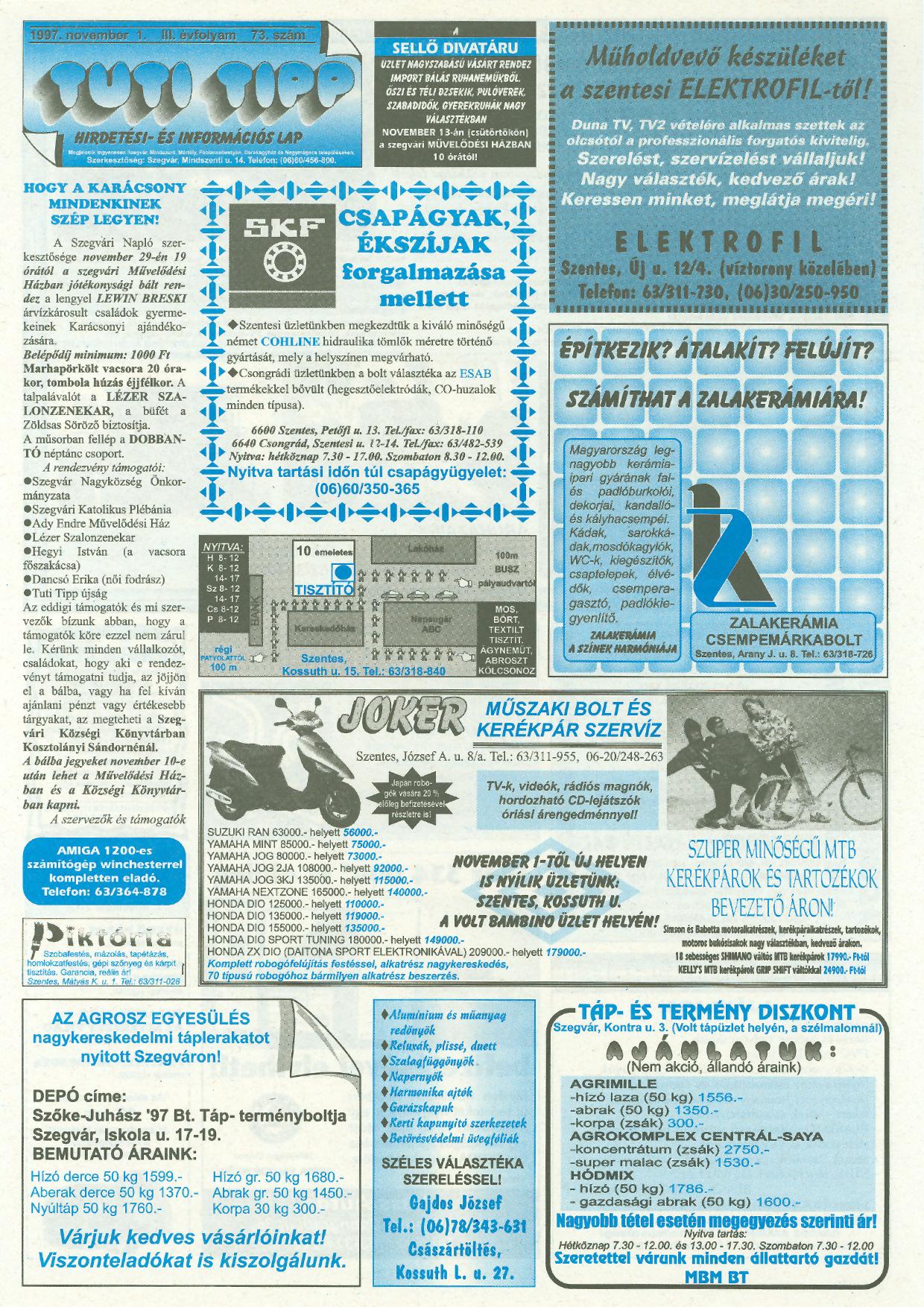 041 Tuti Tipp reklámújság - 19971101-073. lapszám - 1.oldal - III. évfolyam.jpg