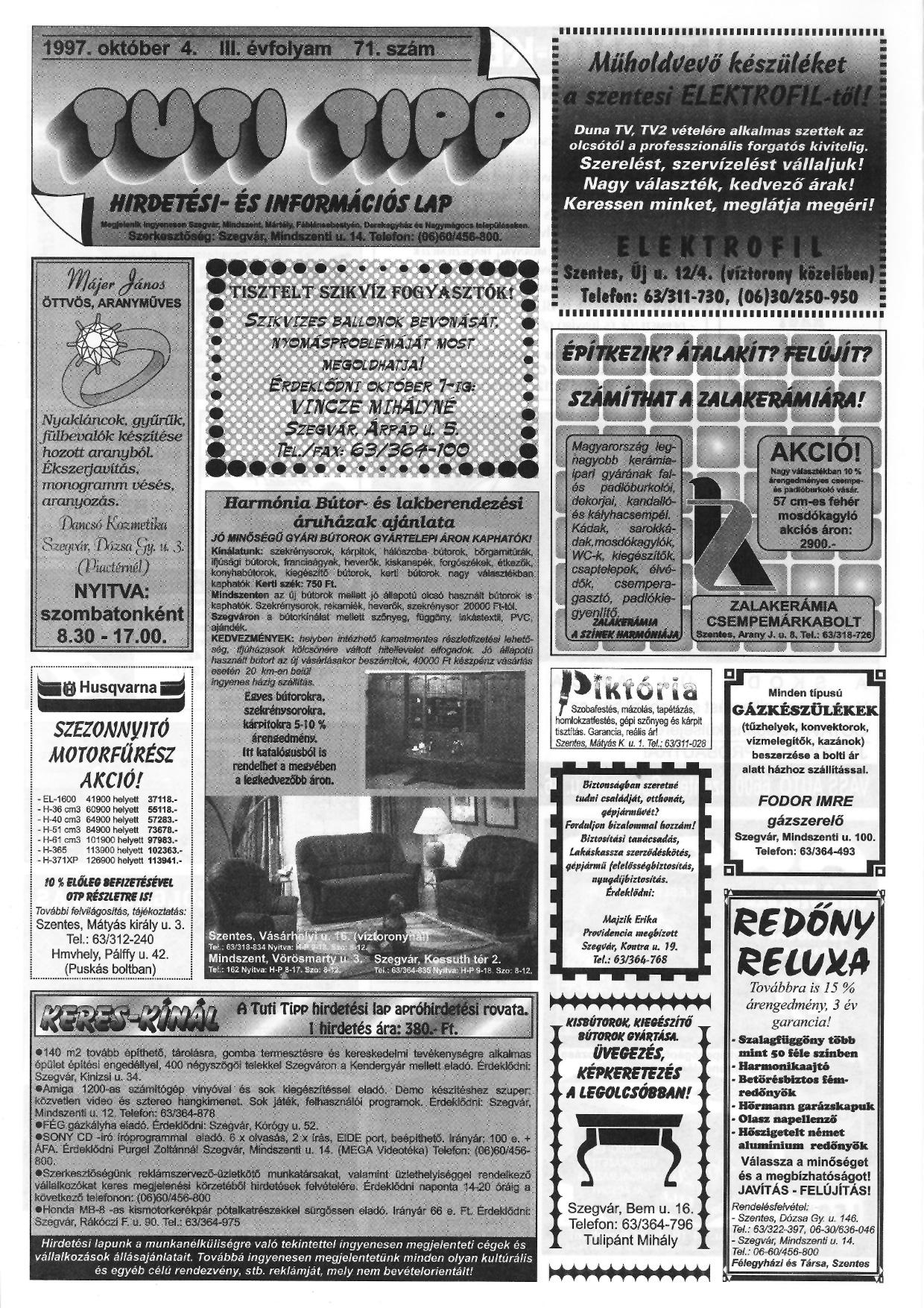 037 Tuti Tipp reklámújság - 19971004-071. lapszám - 1.oldal - III. évfolyam.jpg