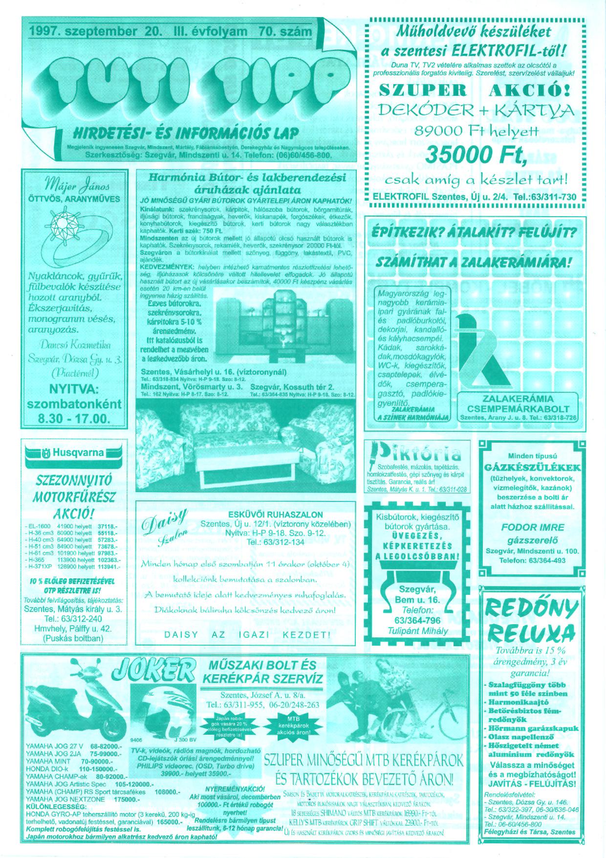 035 Tuti Tipp reklámújság - 19970920-070. lapszám - 1.oldal - III. évfolyam.jpg