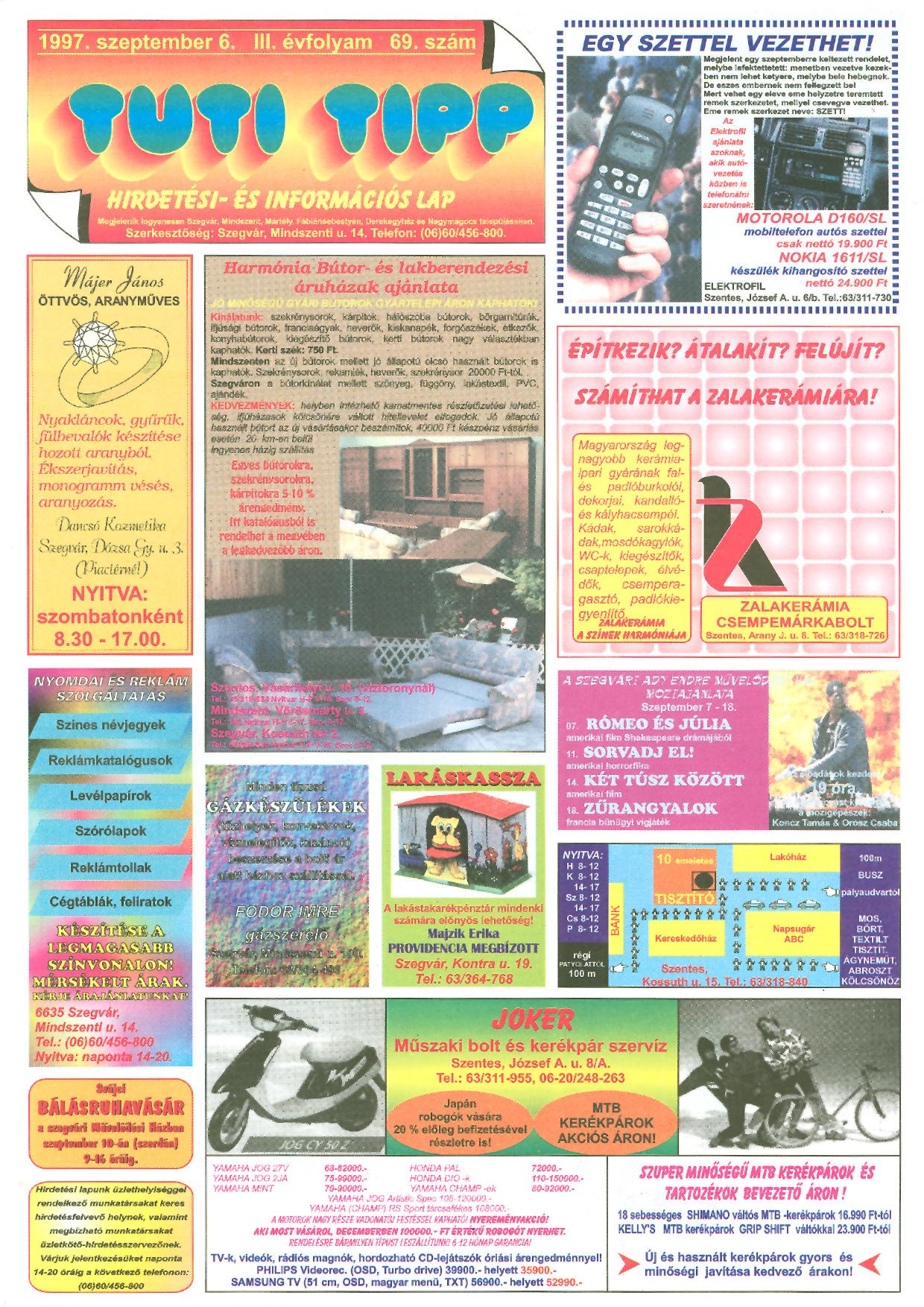 033 Tuti Tipp reklámújság - 19970906-069. lapszám - 1.oldal - III. évfolyam.jpg