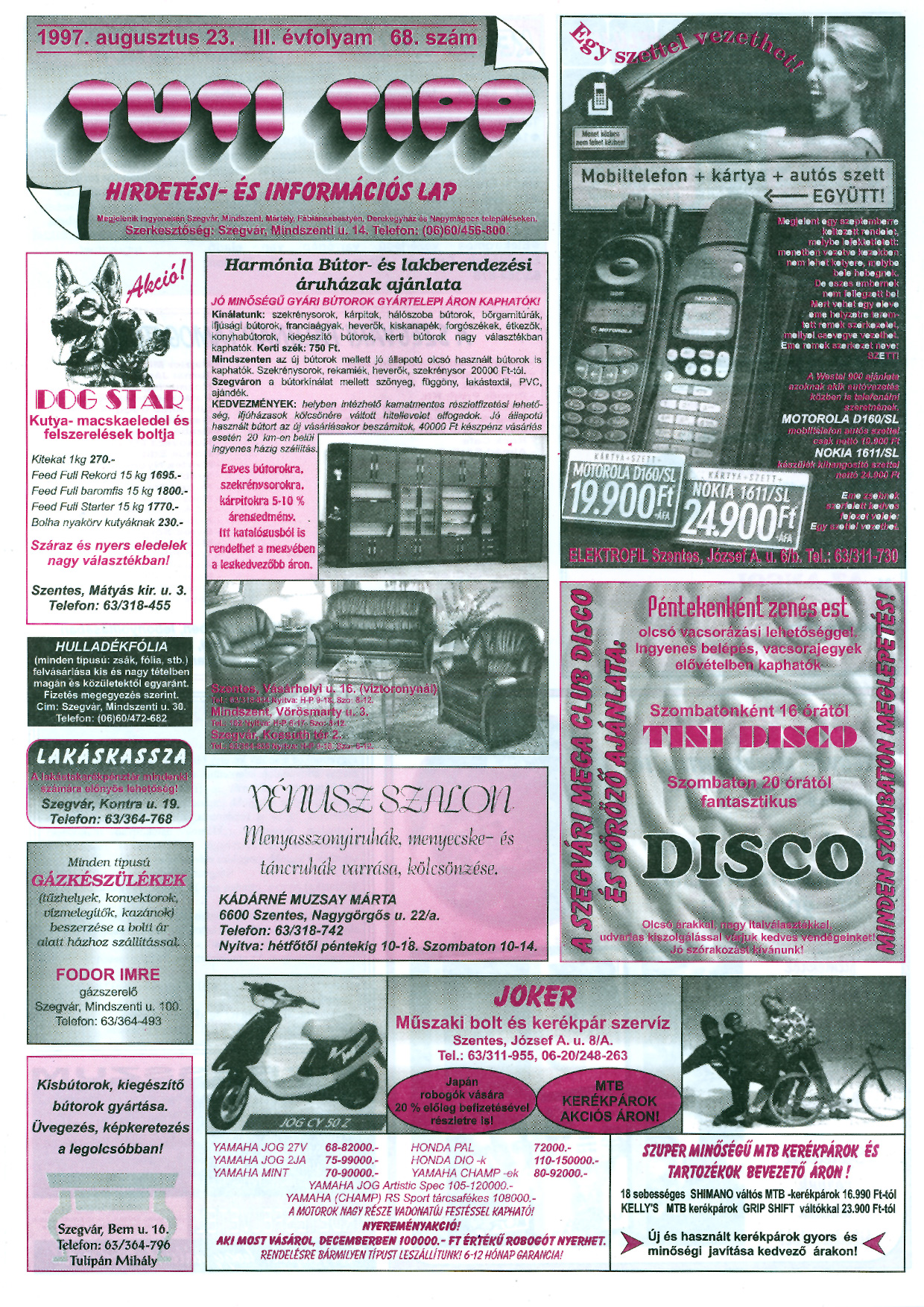 031 Tuti Tipp reklámújság - 19970823-068. lapszám - 1.oldal - III. évfolyam.jpg