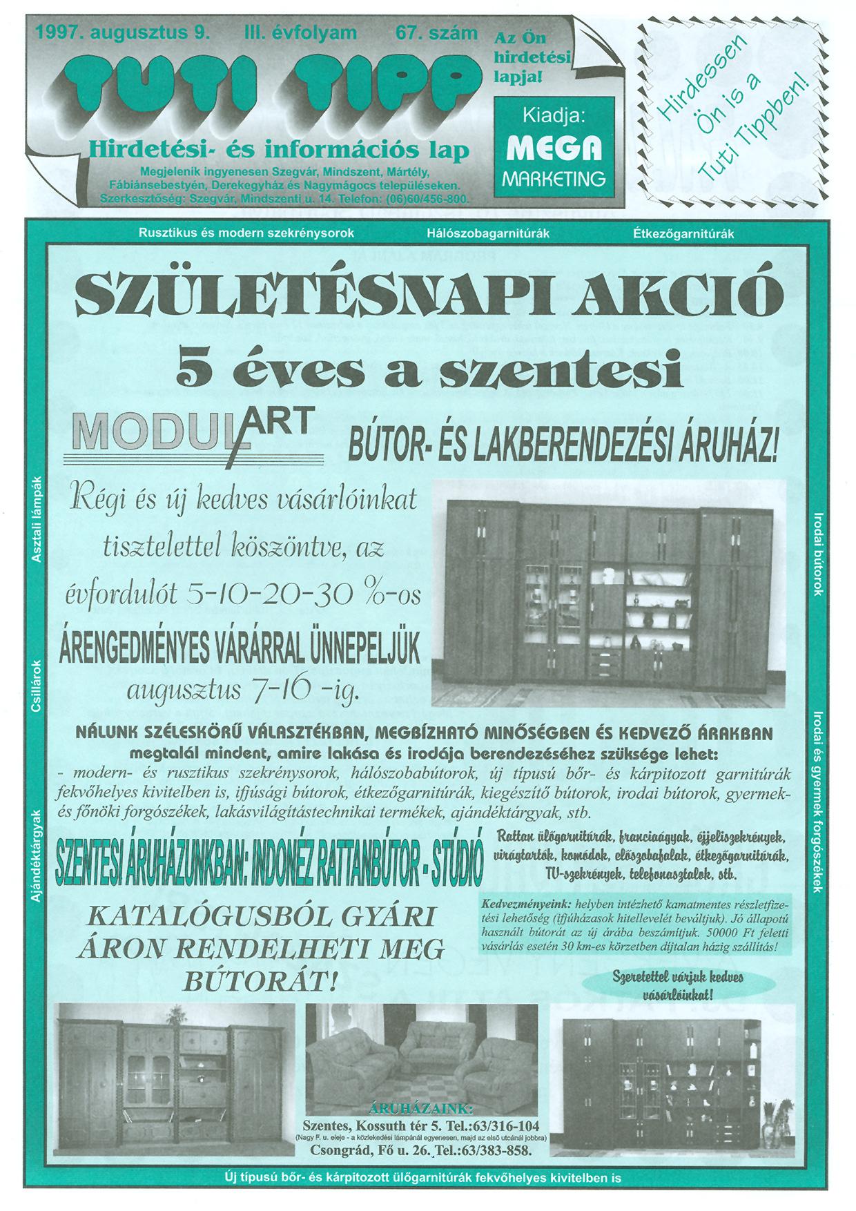 027 Tuti Tipp reklámújság - 19970809-067. lapszám - 1.oldal - III. évfolyam.jpg