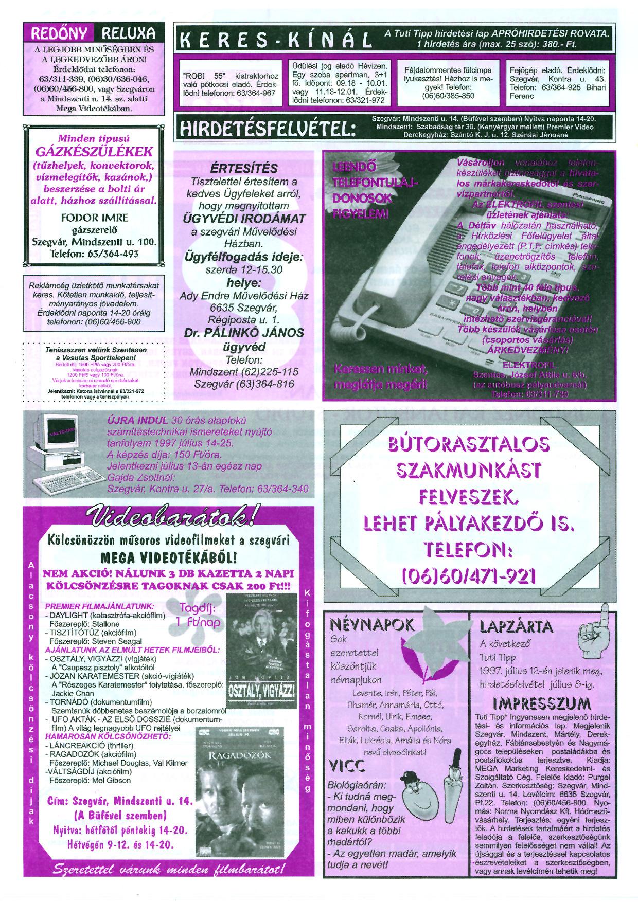 022 Tuti Tipp reklámújság - 19970628-064. lapszám - 2.oldal - III. évfolyam.jpg