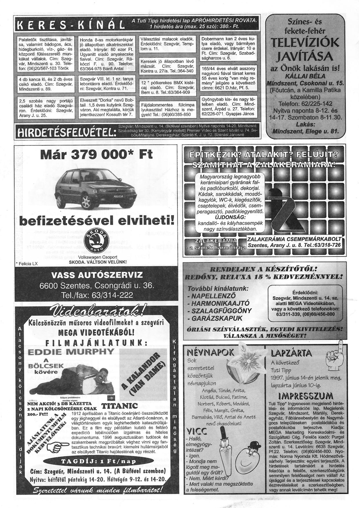 018 Tuti Tipp reklámújság - 19970531-062. lapszám - 2.oldal - III. évfolyam.jpg