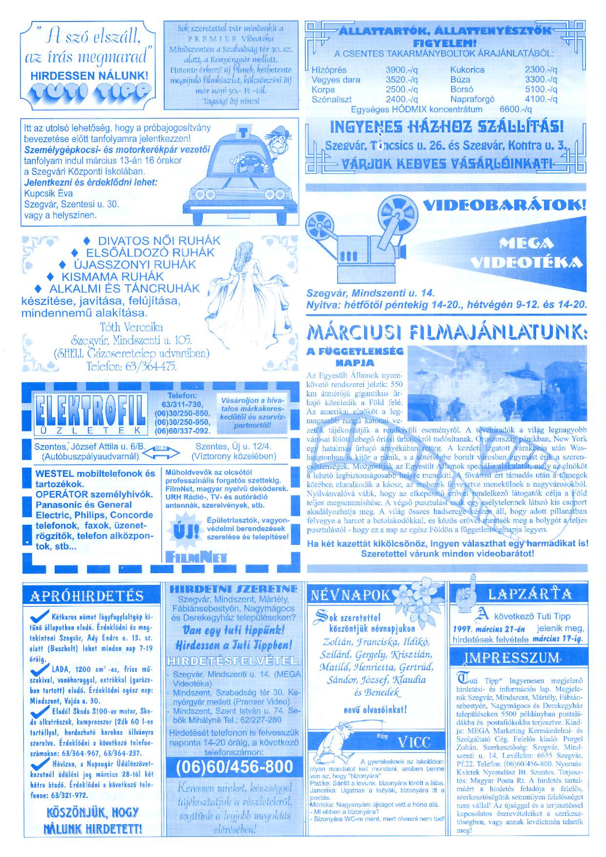 008 Tuti Tipp reklámújság - 19970307-057. lapszám - 2.oldal - III. évfolyam.jpg