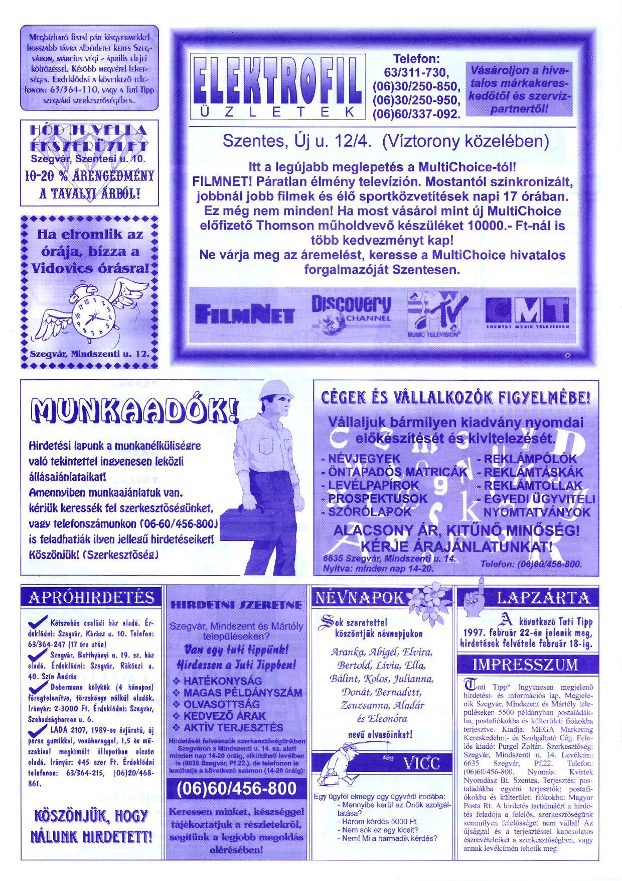 004 Tuti Tipp reklámújság - 19970208-055. lapszám - 2.oldal - III. évfolyam.jpg