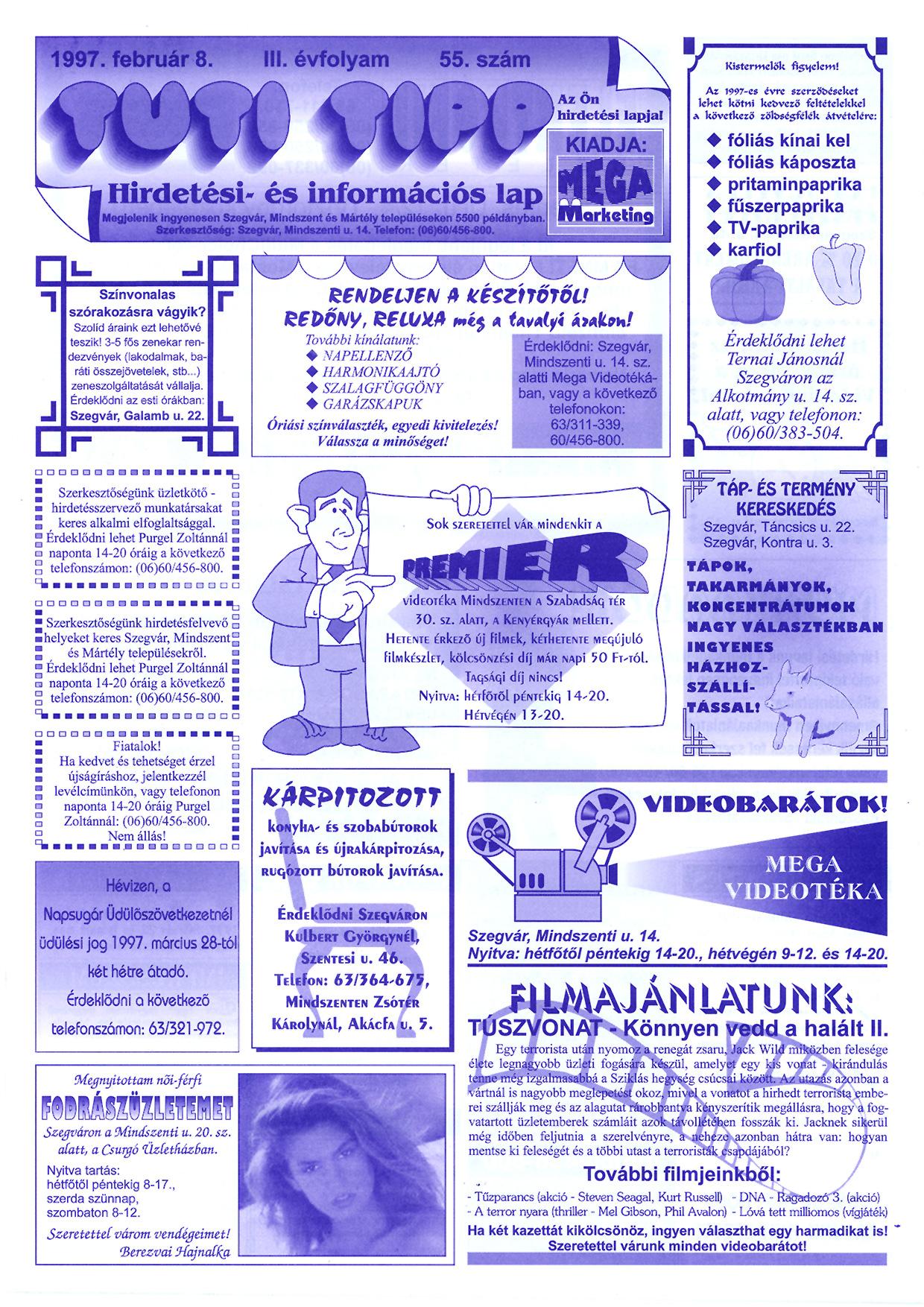 003 Tuti Tipp reklámújság - 19970208-055. lapszám - 1.oldal - III. évfolyam.jpg