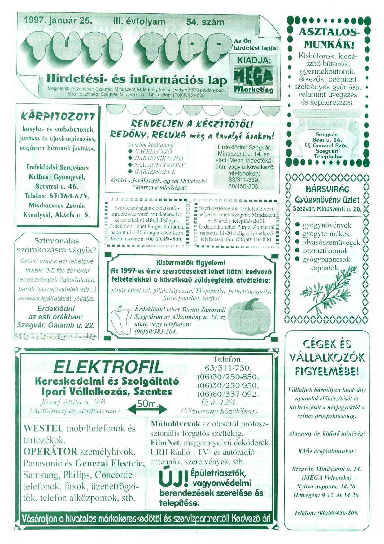 001 Tuti Tipp reklámújság - 19970125-054. lapszám - 1.oldal - III. évfolyam.jpg
