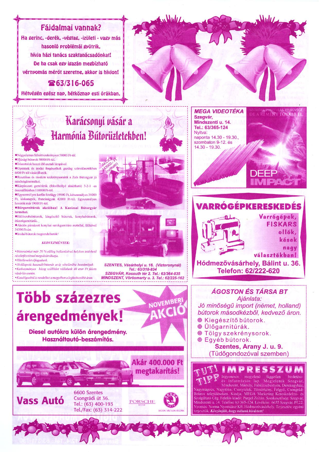 064 Tuti Tipp reklámújság - 19981220-101+011. lapszám - 2.oldal - IV. évfolyam.jpg