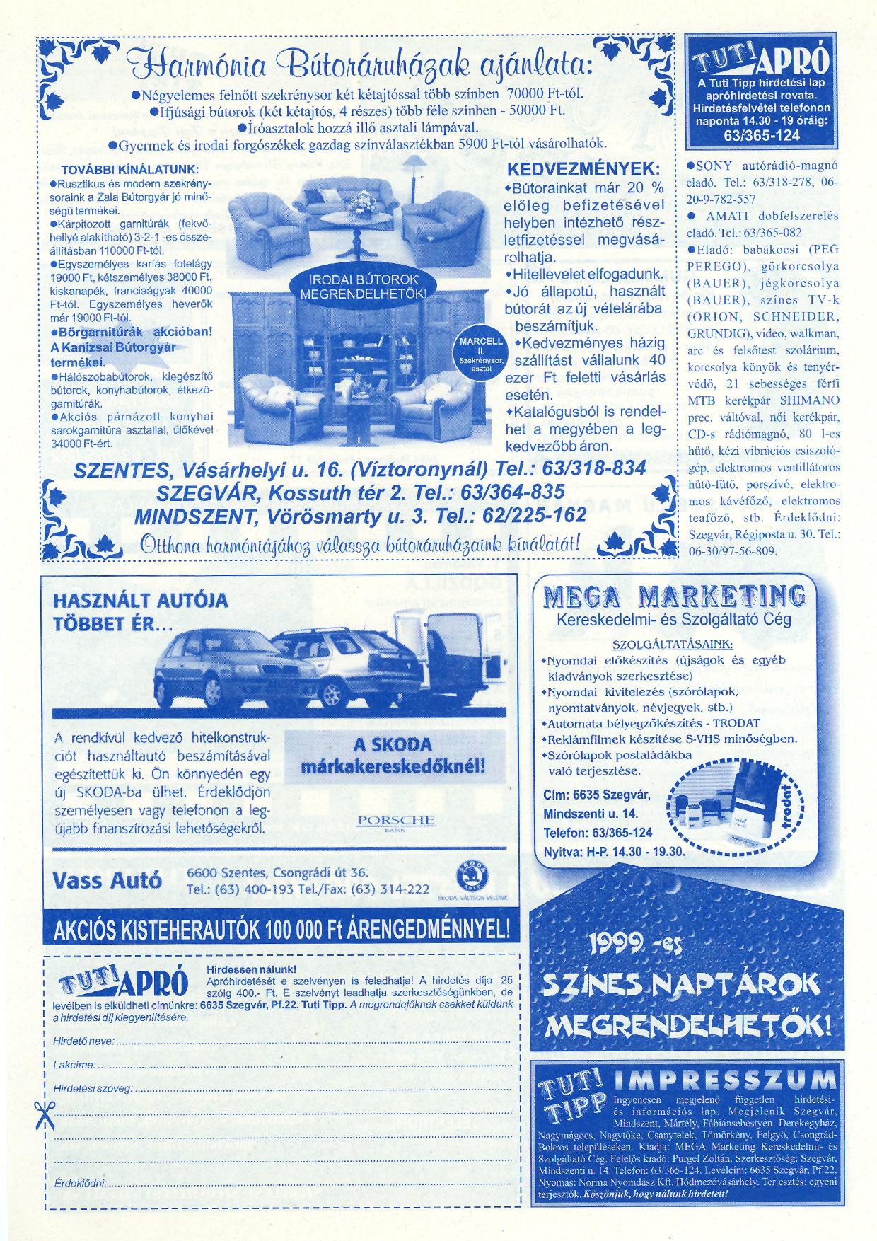 052 Tuti Tipp reklámújság - 19981031-096+006. lapszám - 2.oldal - IV. évfolyam.jpg