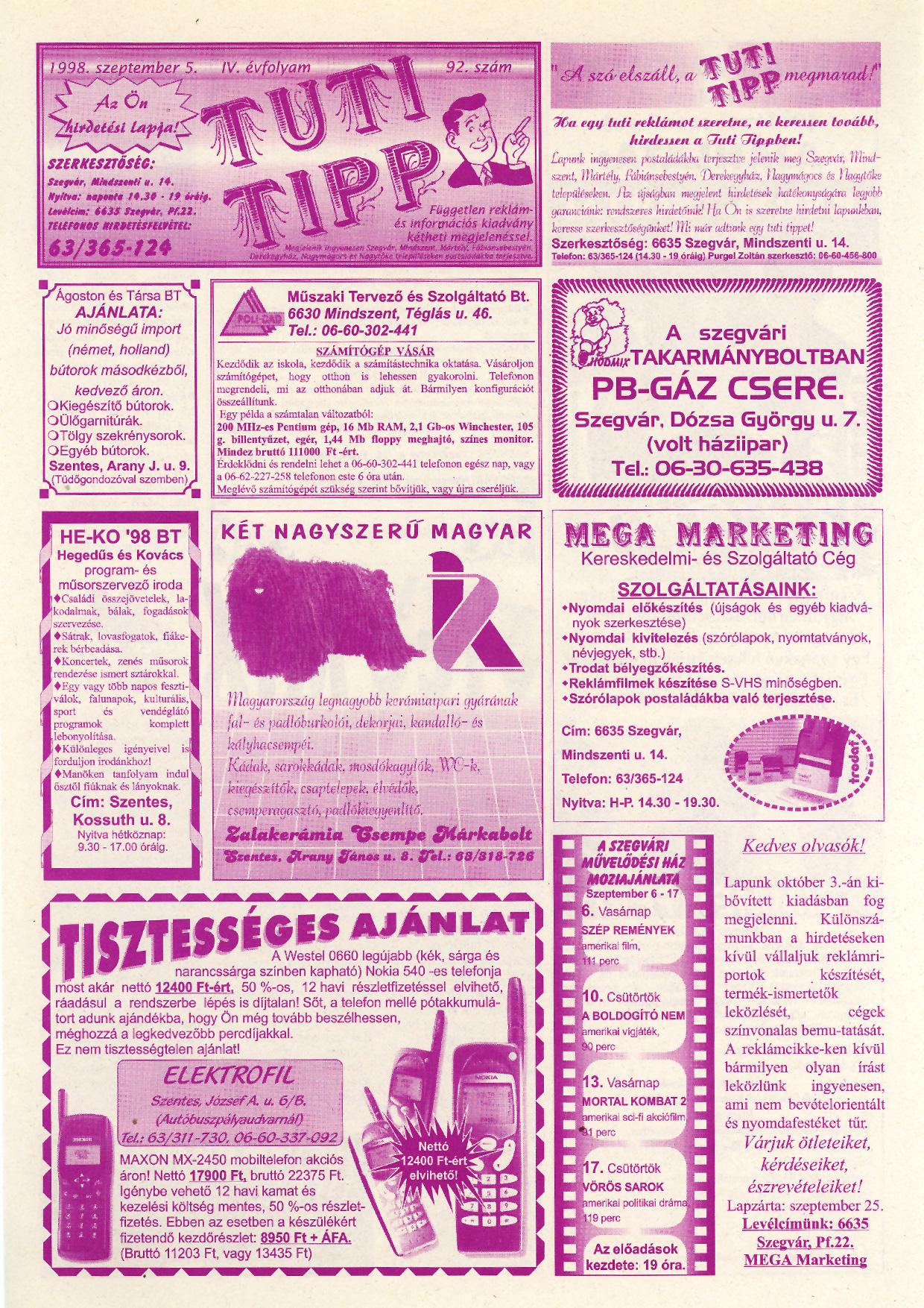 039 Tuti Tipp reklámújság - 19980905-092. lapszám - 1.oldal - IV. évfolyam.jpg