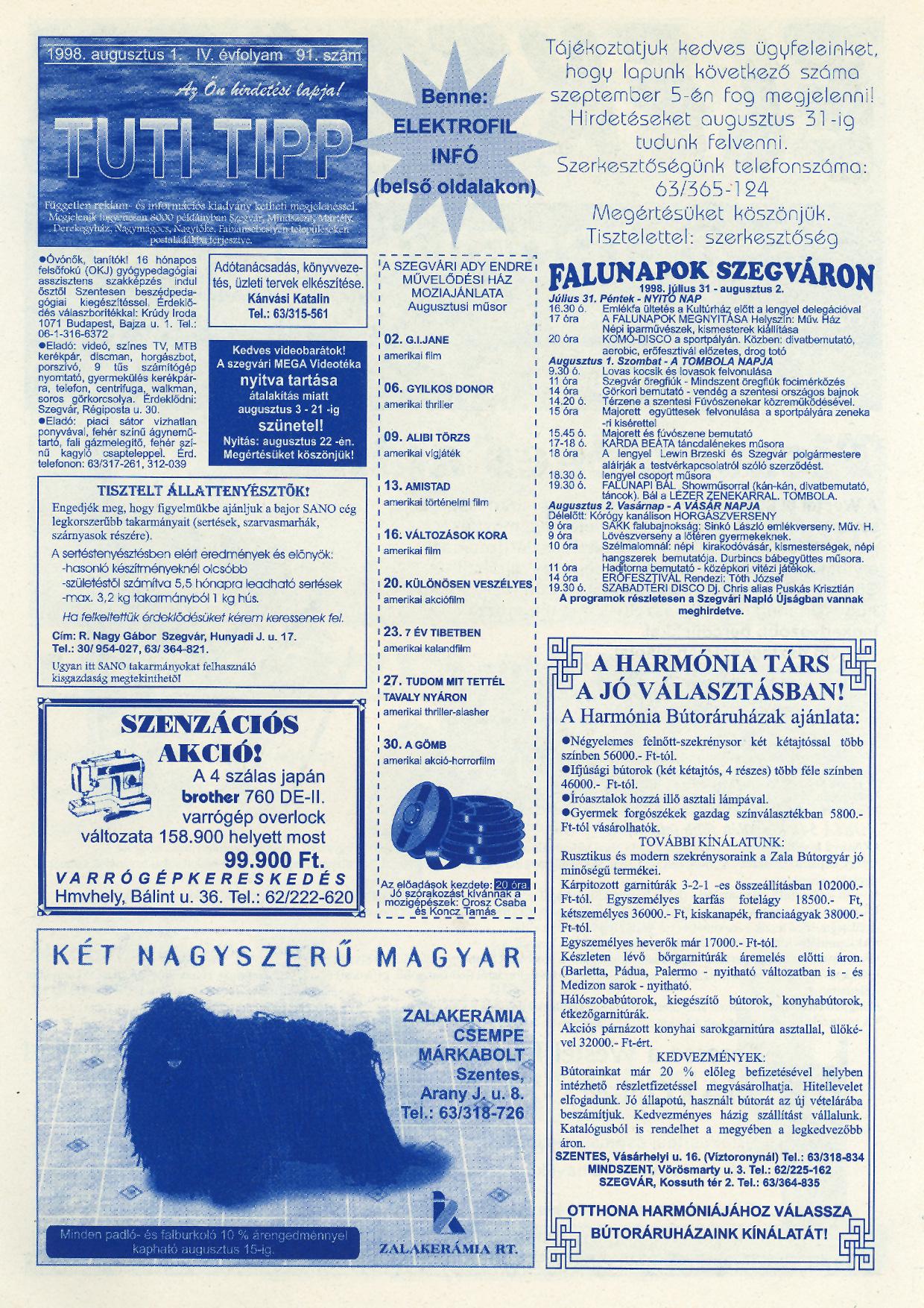 033 Tuti Tipp reklámújság - 19980801-091. lapszám - 1.oldal - IV. évfolyam.jpg