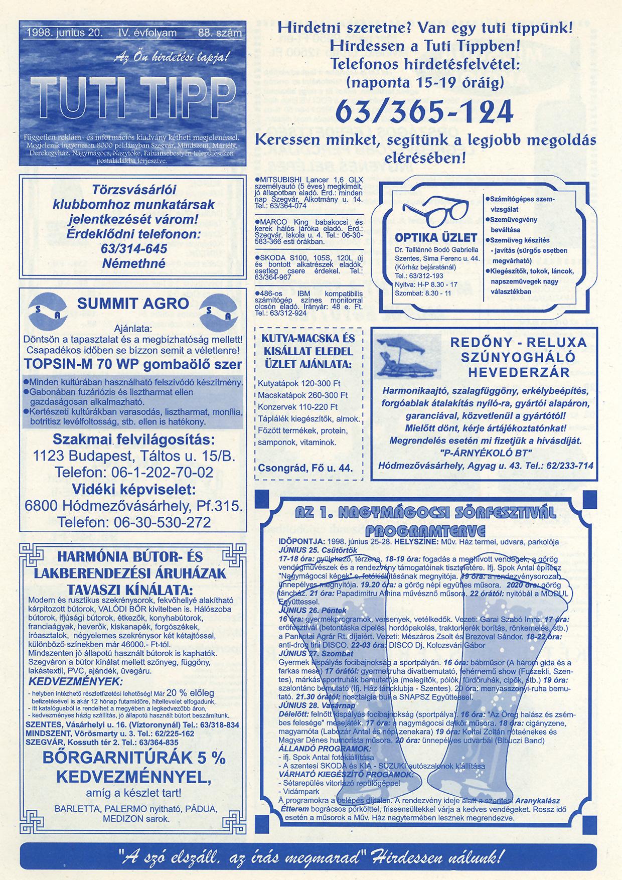 023 Tuti Tipp reklámújság - 19980620-088. lapszám - 1.oldal - IV. évfolyam.jpg