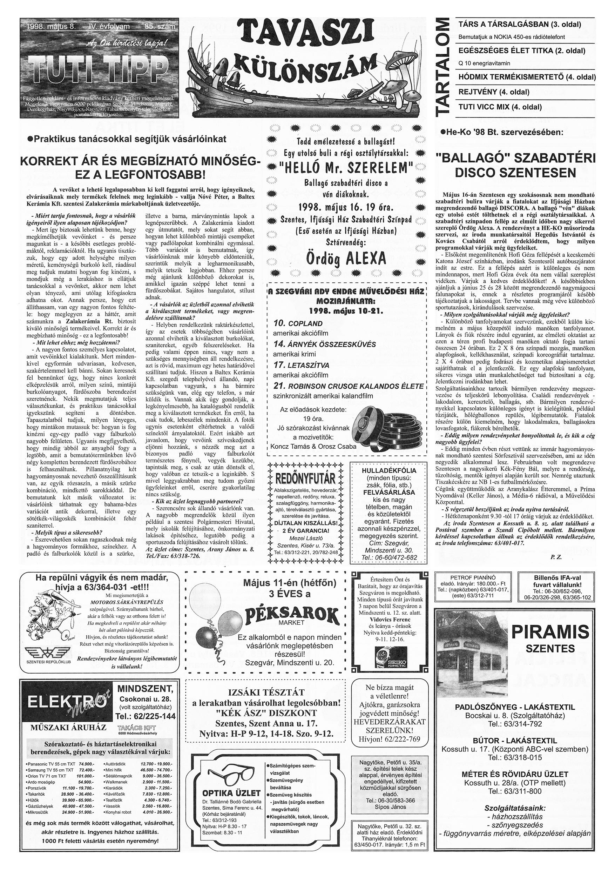 015 Tuti Tipp reklámújság különszám - 19980508-085. lapszám - 1.oldal - IV. évfolyam.jpg