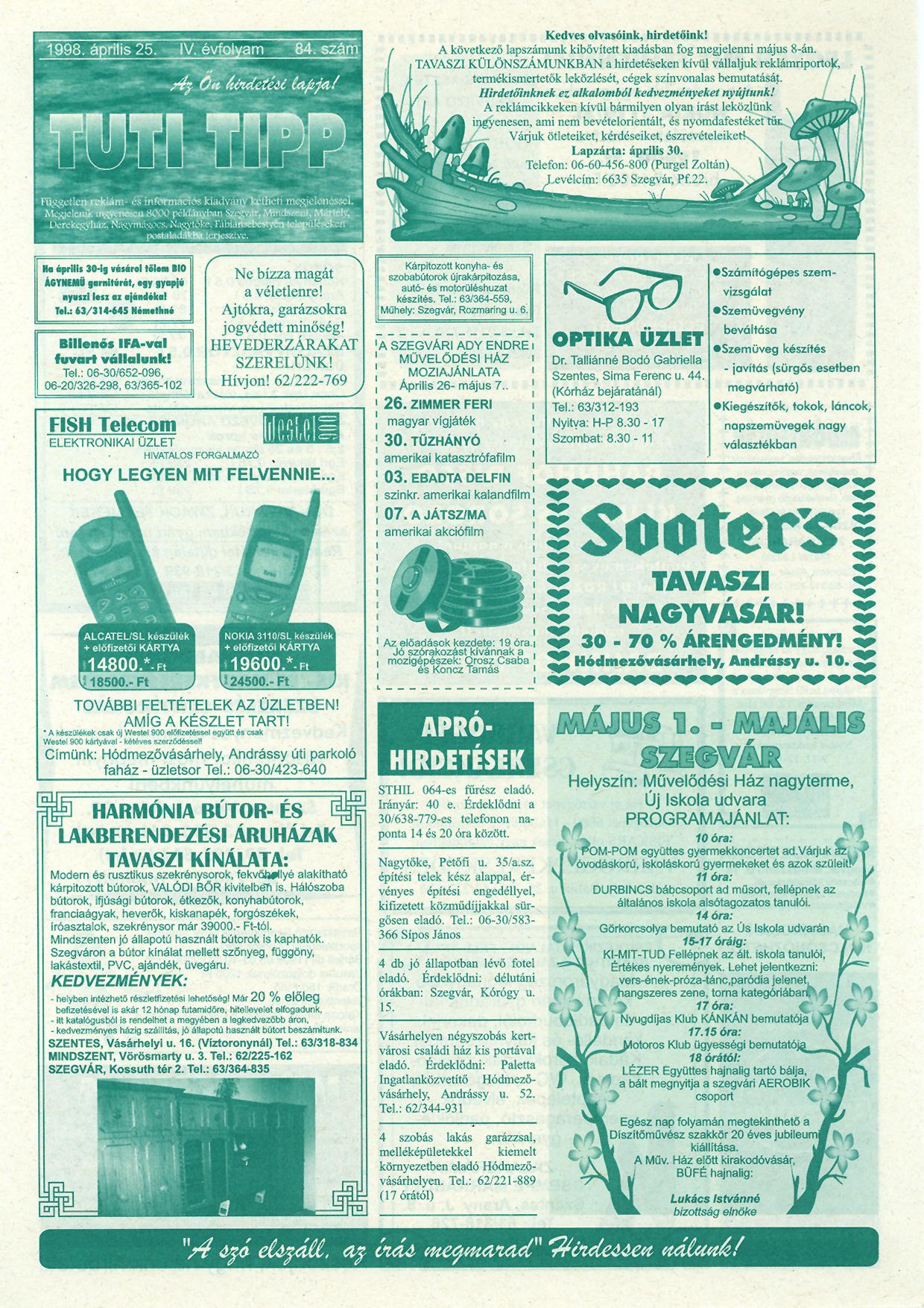 013 Tuti Tipp reklámújság - 19980425-084. lapszám - 1.oldal - IV. évfolyam.jpg