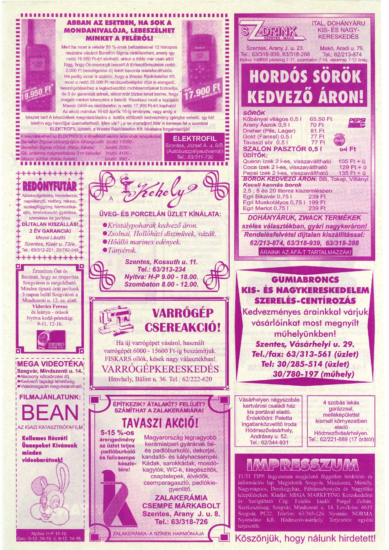 012 Tuti Tipp reklámújság - 19980411-083. lapszám - 2.oldal - IV. évfolyam.jpg