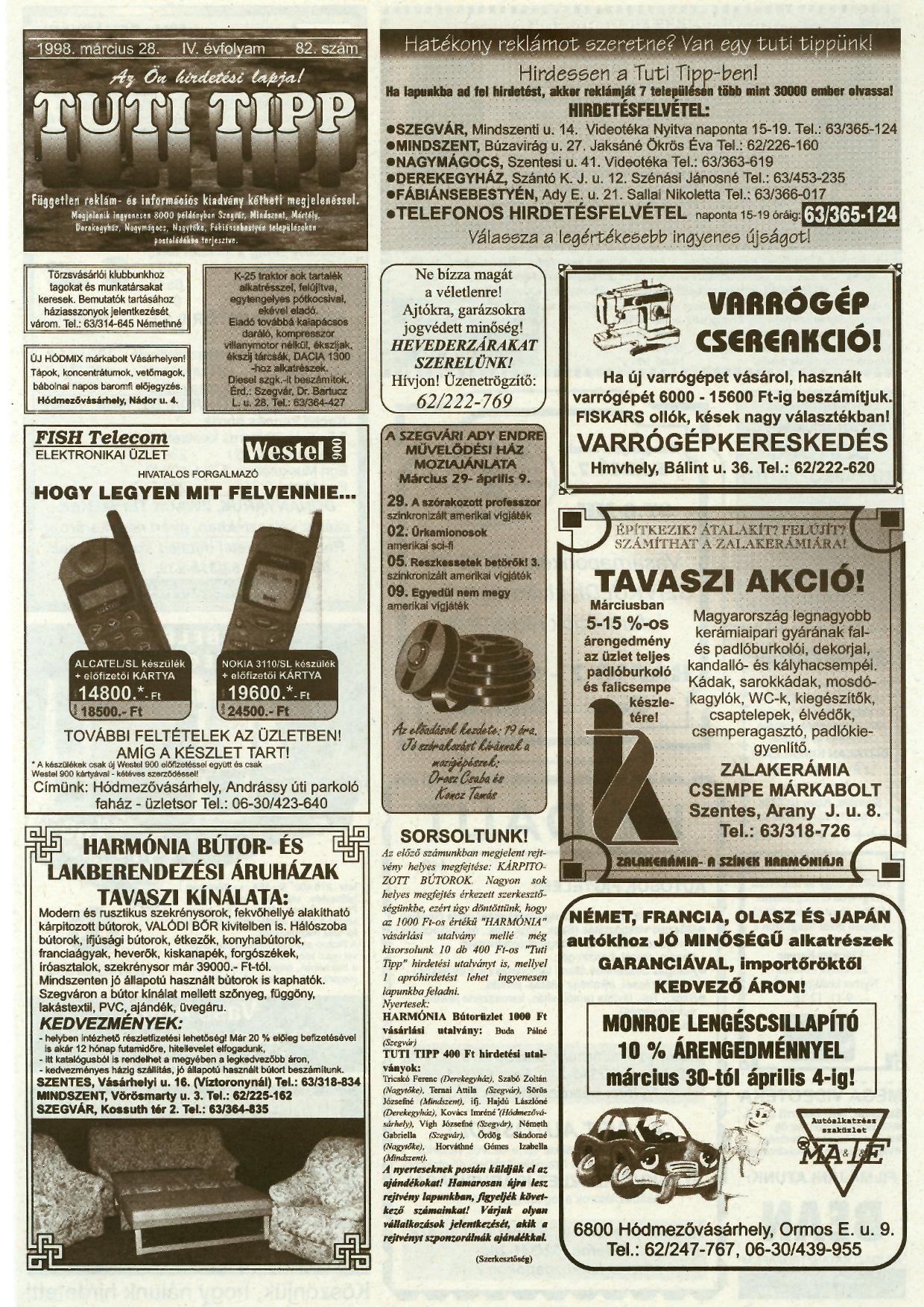 009 Tuti Tipp reklámújság - 19980328-082. lapszám - 1.oldal - IV. évfolyam.jpg