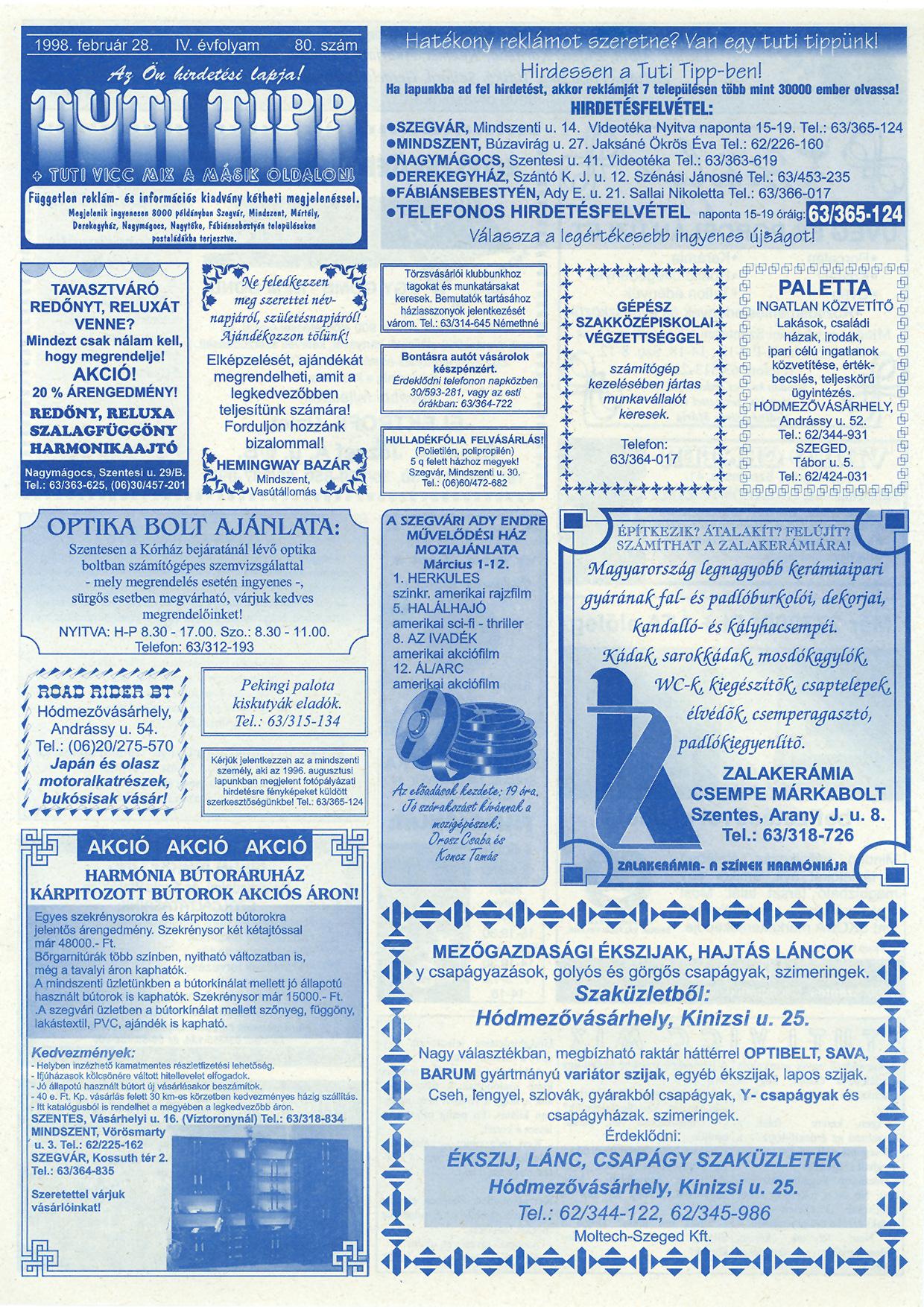 005 Tuti Tipp reklámújság - 19980228-080. lapszám - 1.oldal - IV. évfolyam.jpg