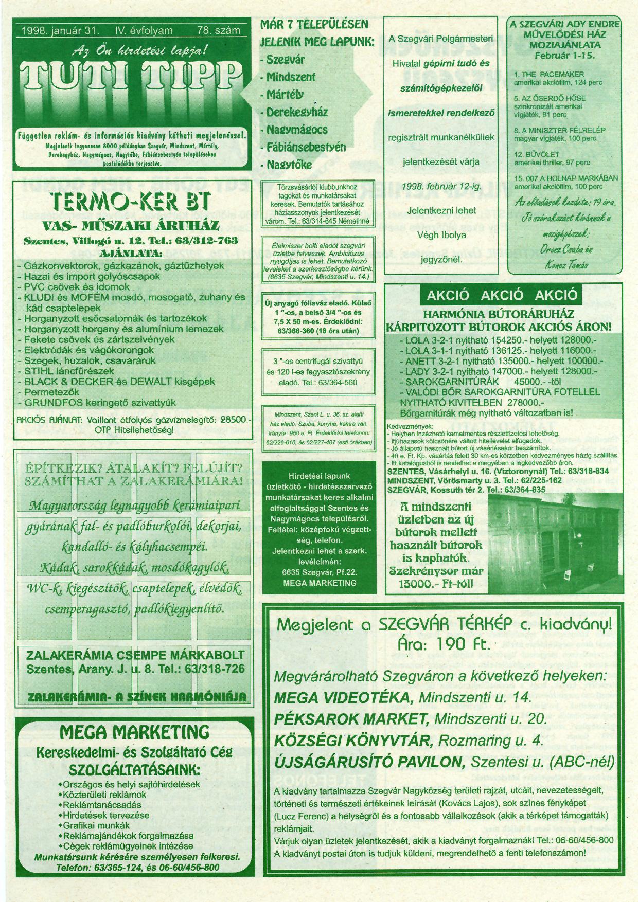 001 Tuti Tipp reklámújság - 19980131-078. lapszám - 1.oldal - IV. évfolyam.jpg