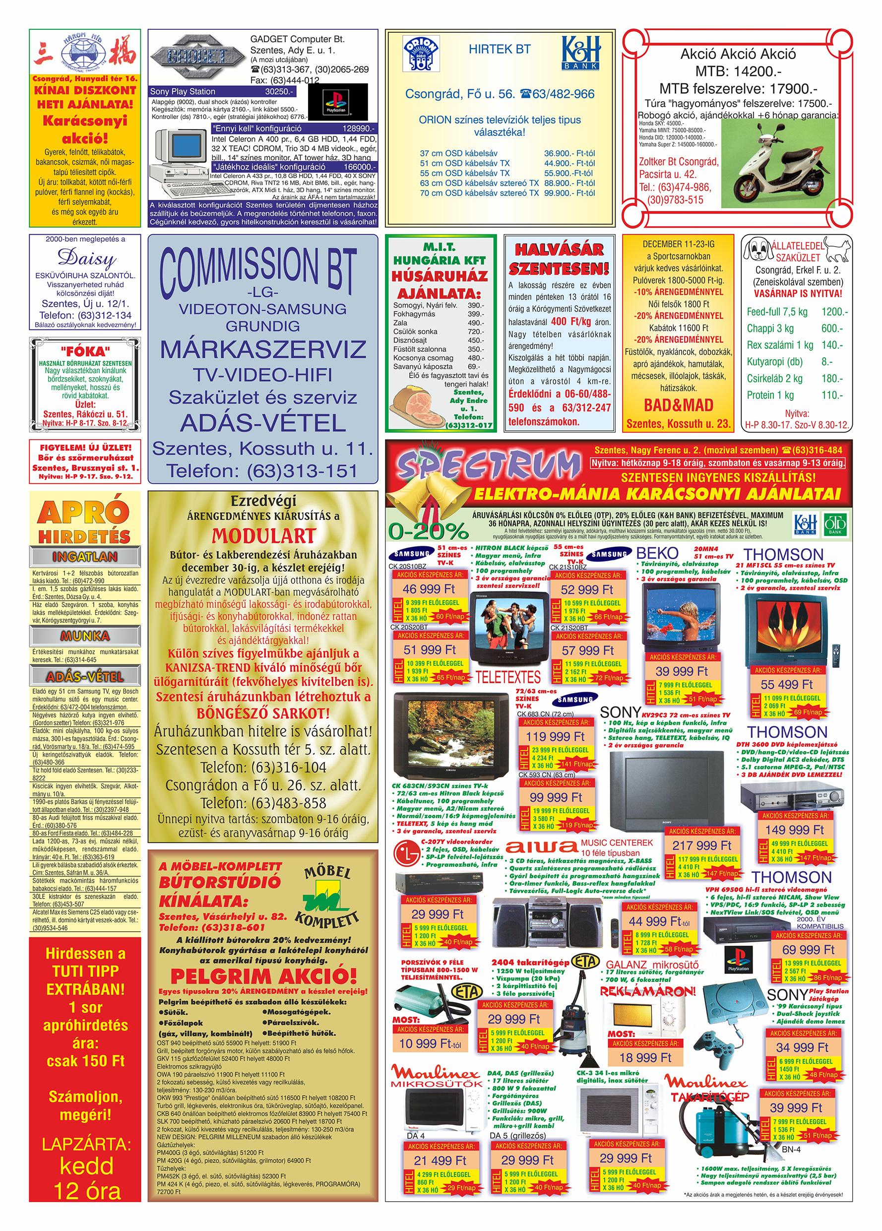 078 Tuti Tipp Extra reklámújság - 19991211-025. lapszám - 2.oldal - V. évfolyam.jpg