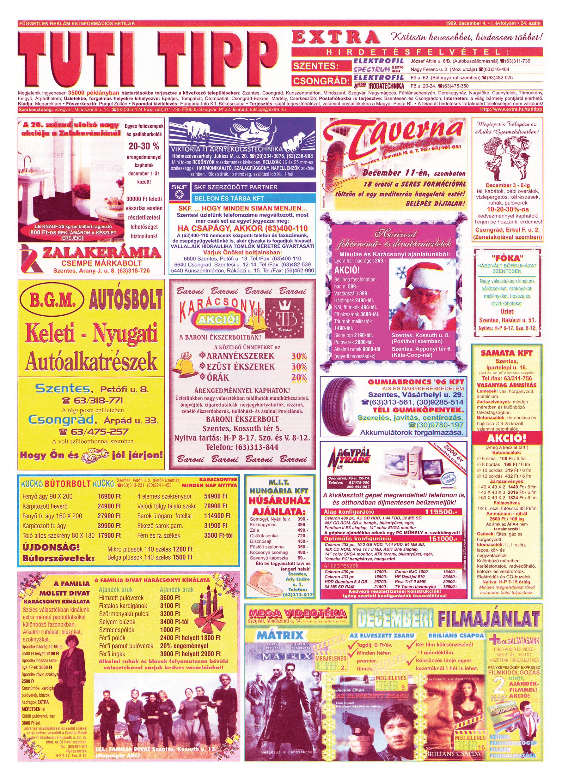075 Tuti Tipp Extra reklámújság - 19991204-024. lapszám - 1.oldal - V. évfolyam.jpg