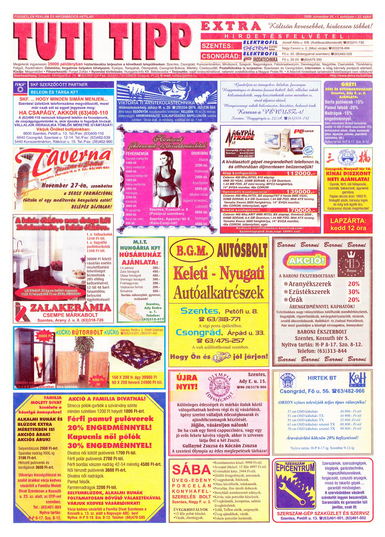 071 Tuti Tipp Extra reklámújság - 19991120-022. lapszám - 1.oldal - V. évfolyam.jpg