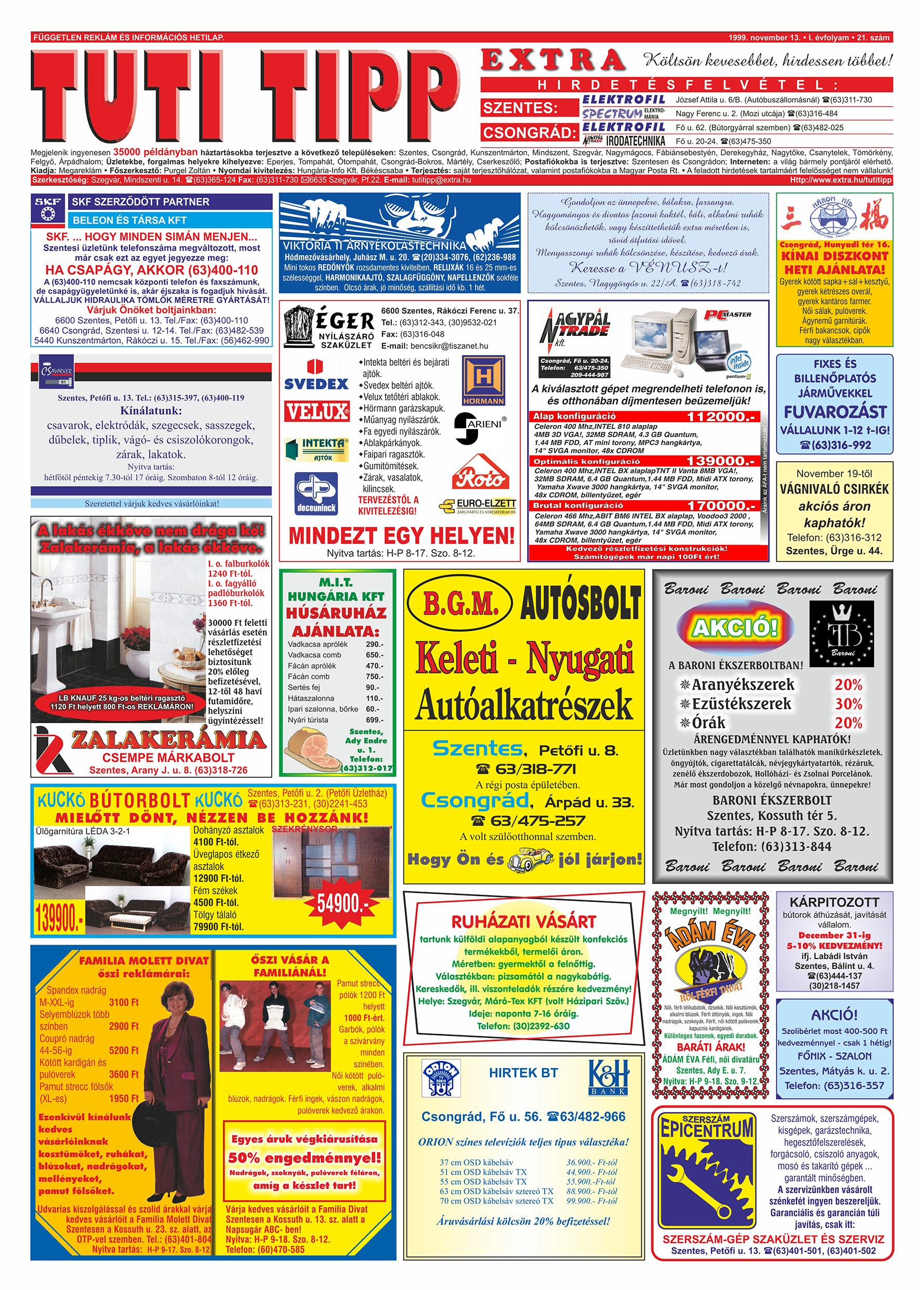 067 Tuti Tipp Extra reklámújság - 19991113-021. lapszám - 1.oldal - V. évfolyam.jpg