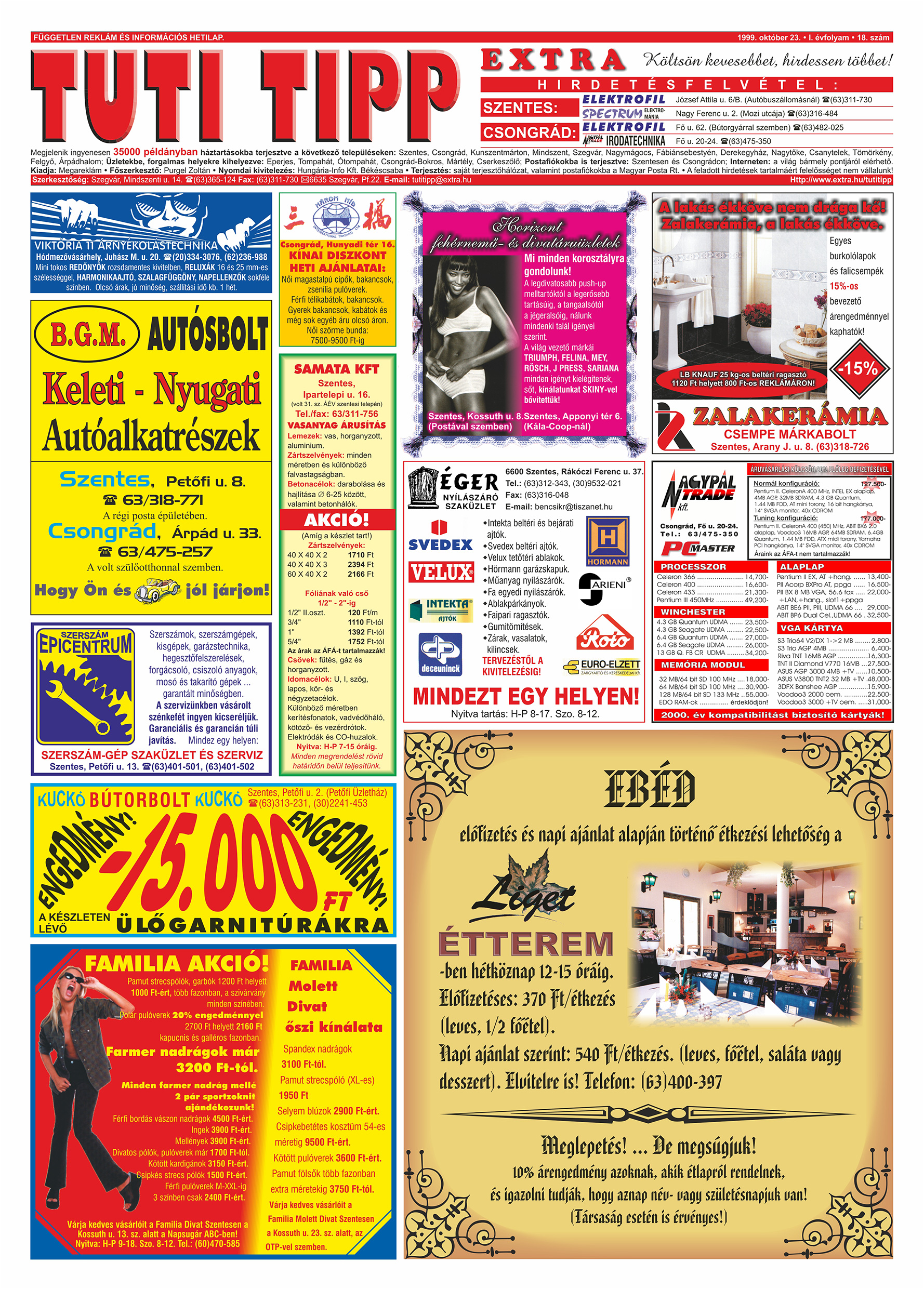 061 Tuti Tipp Extra reklámújság - 19991023-018. lapszám - 1.oldal - V. évfolyam.jpg