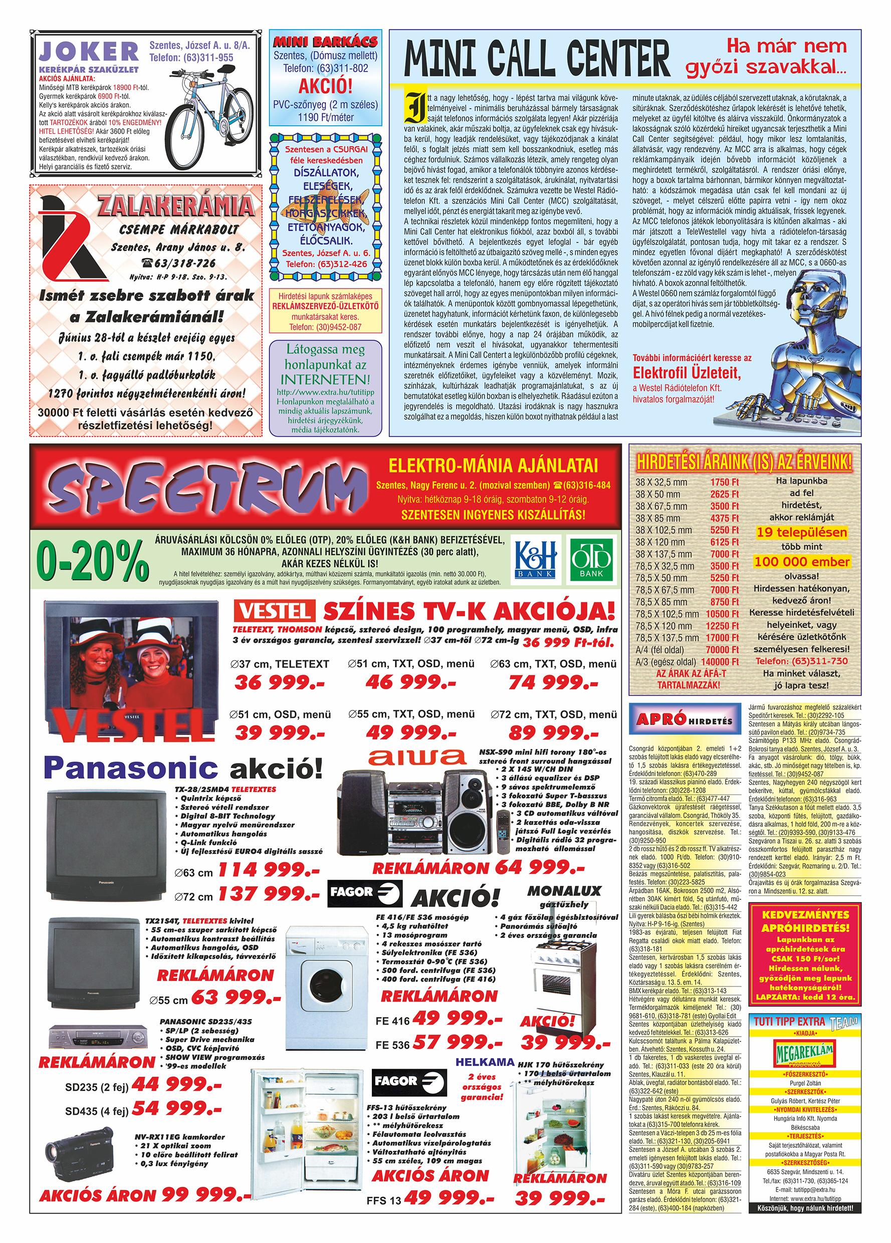 046 Tuti Tipp Extra reklámújság - 19990828-010. lapszám - 2.oldal - V. évfolyam.jpg