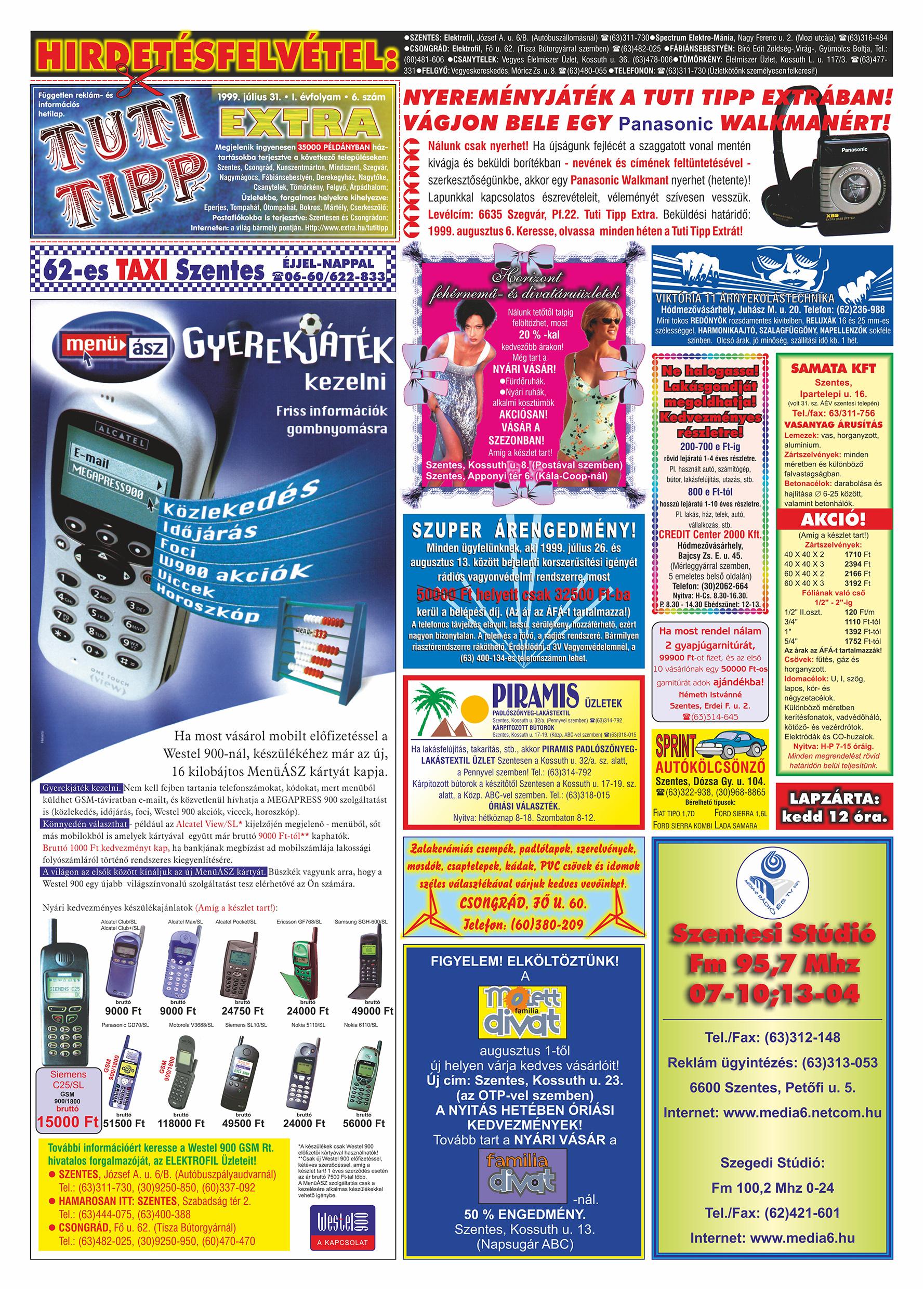 037 Tuti Tipp Extra reklámújság - 19990731-006. lapszám - 1.oldal - V. évfolyam.jpg