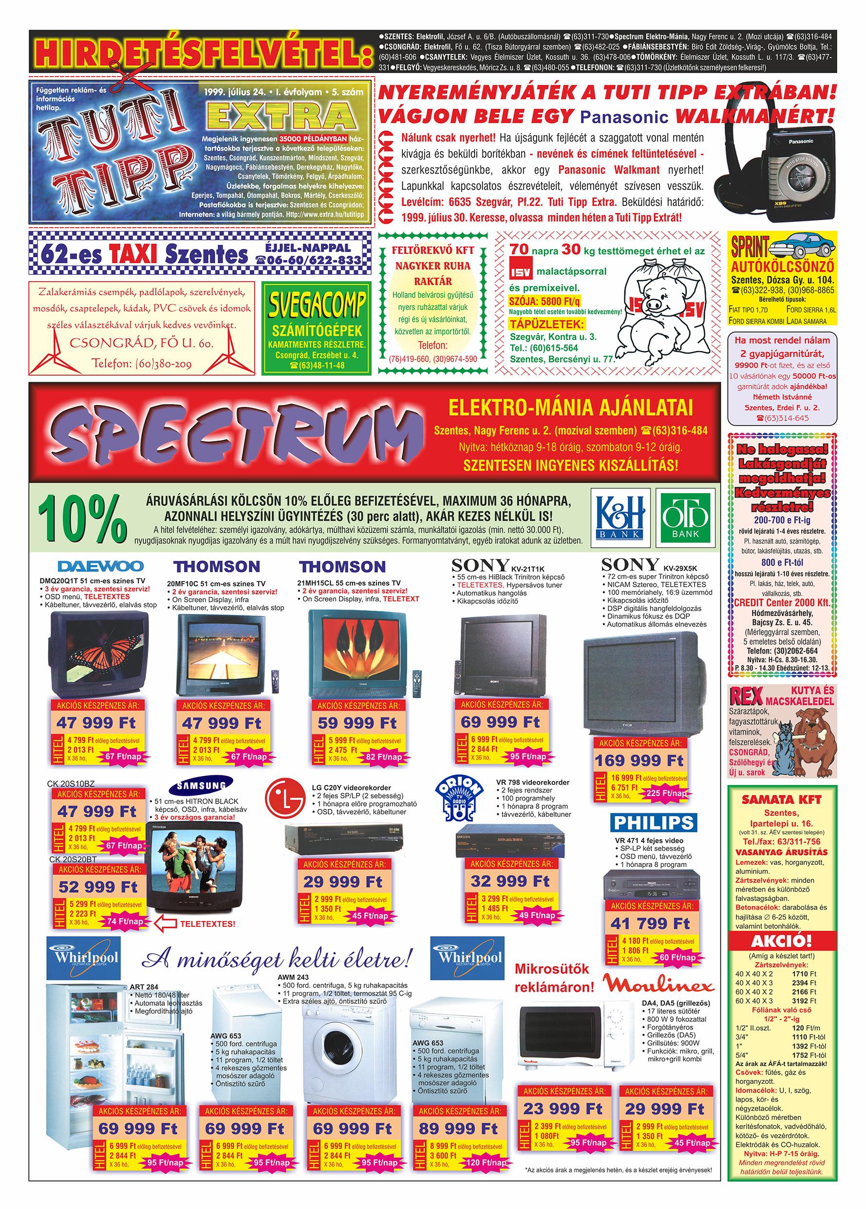 035 Tuti Tipp Extra reklámújság - 19990724-005. lapszám - 1.oldal - V. évfolyam.jpg