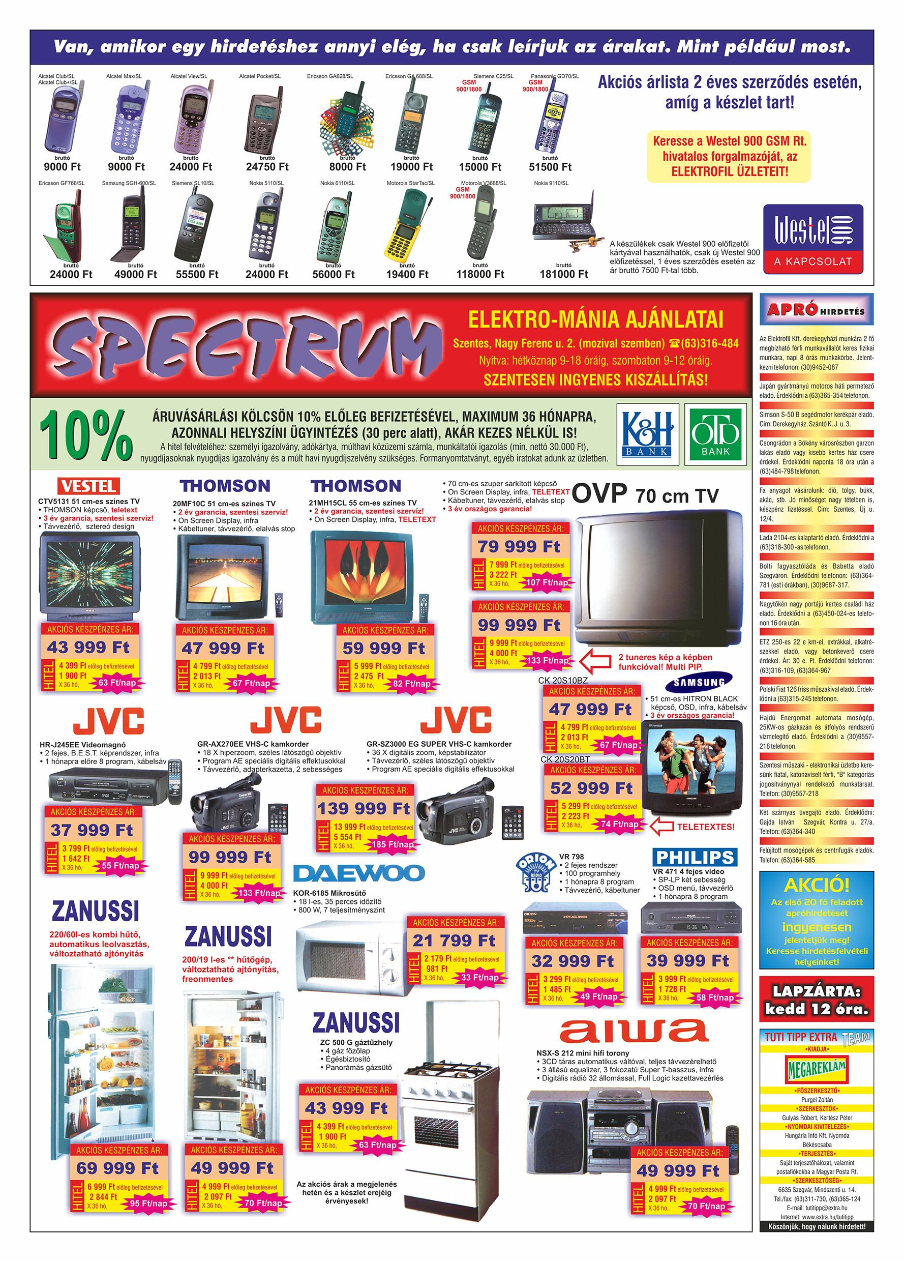 028 Tuti Tipp Extra reklámújság - 19990703-002. lapszám - 2.oldal - V. évfolyam.jpg